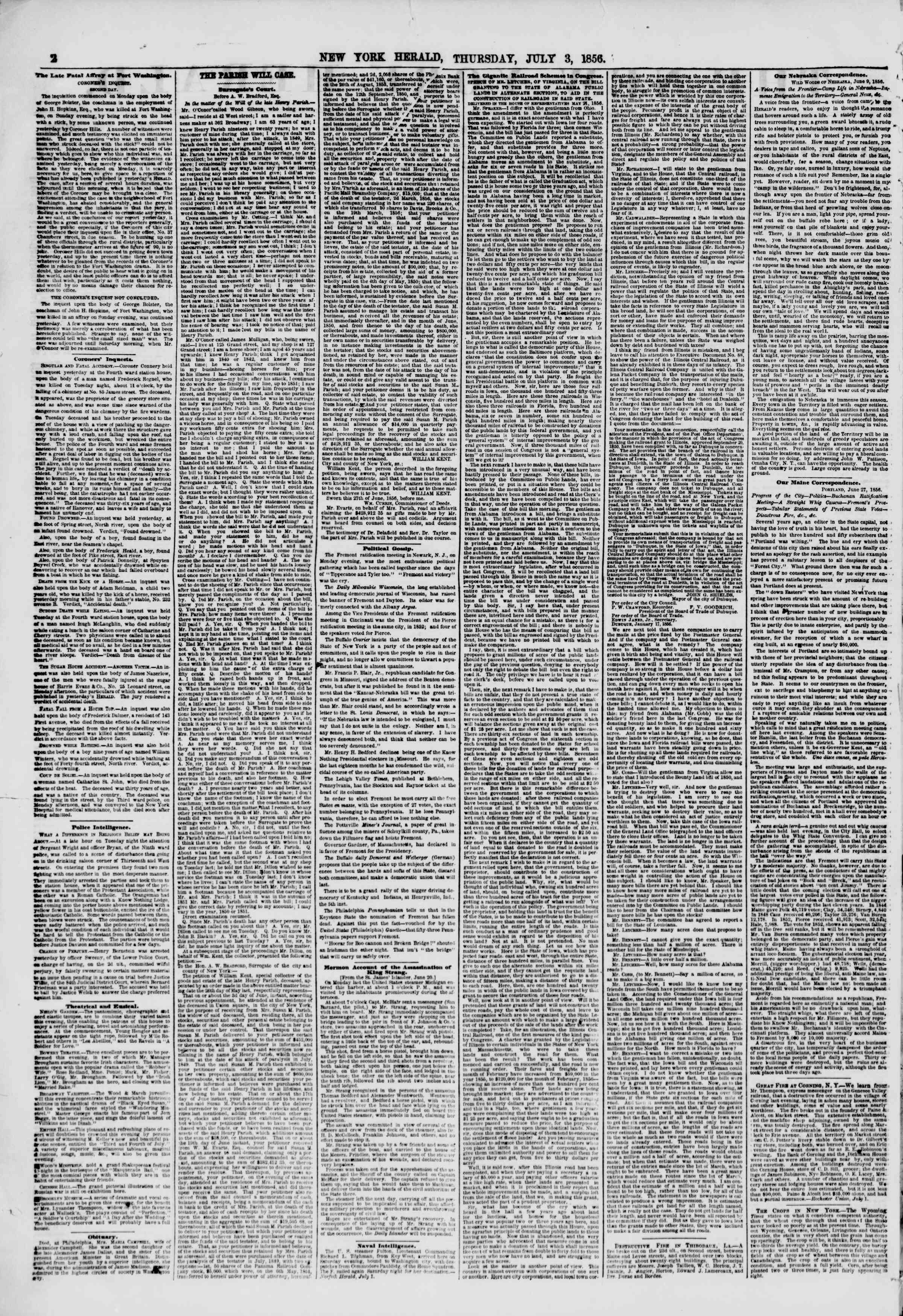 Newspaper of The New York Herald dated July 3, 1856 Page 2