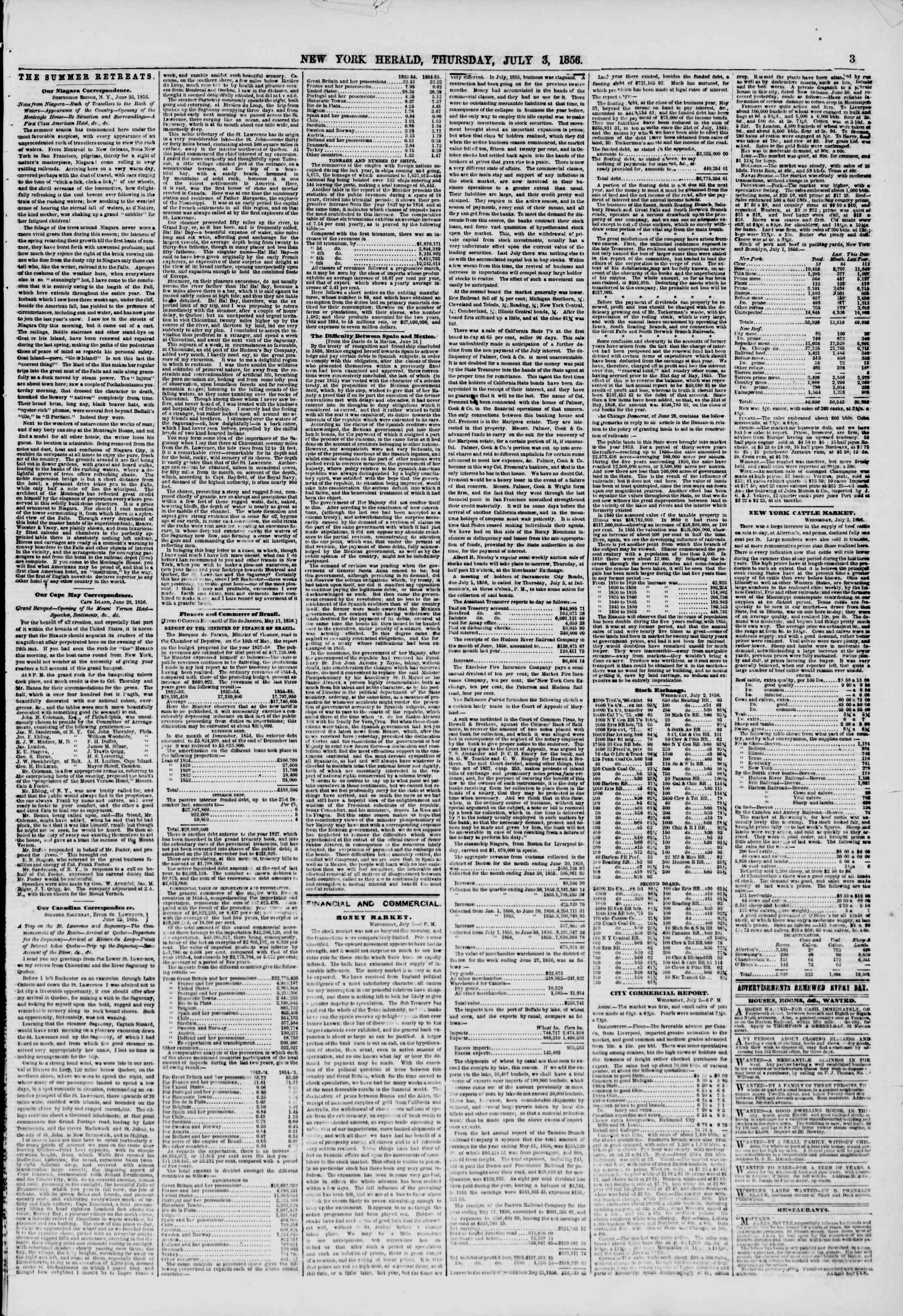 Newspaper of The New York Herald dated July 3, 1856 Page 3