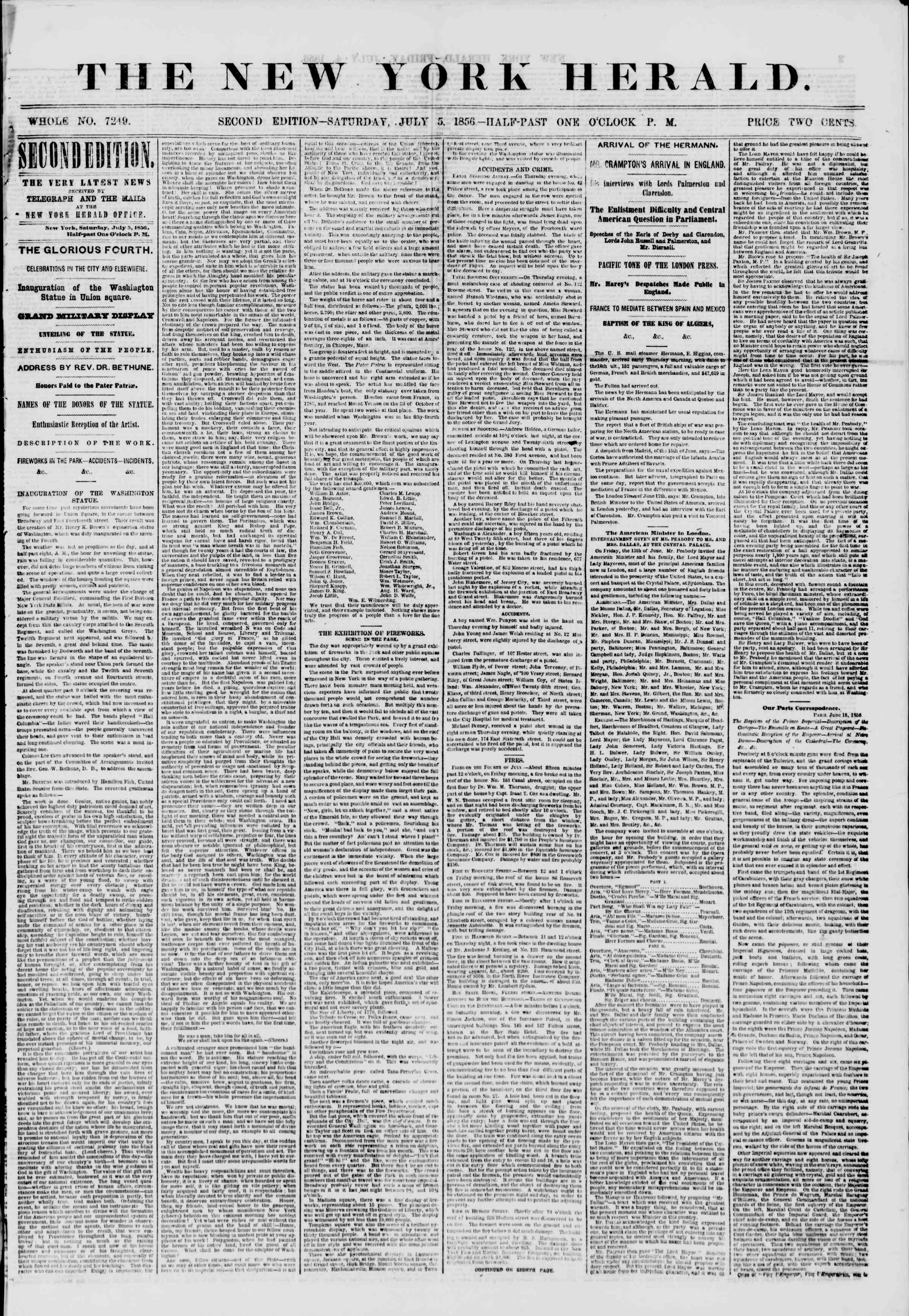 Newspaper of The New York Herald dated July 5, 1856 Page 1