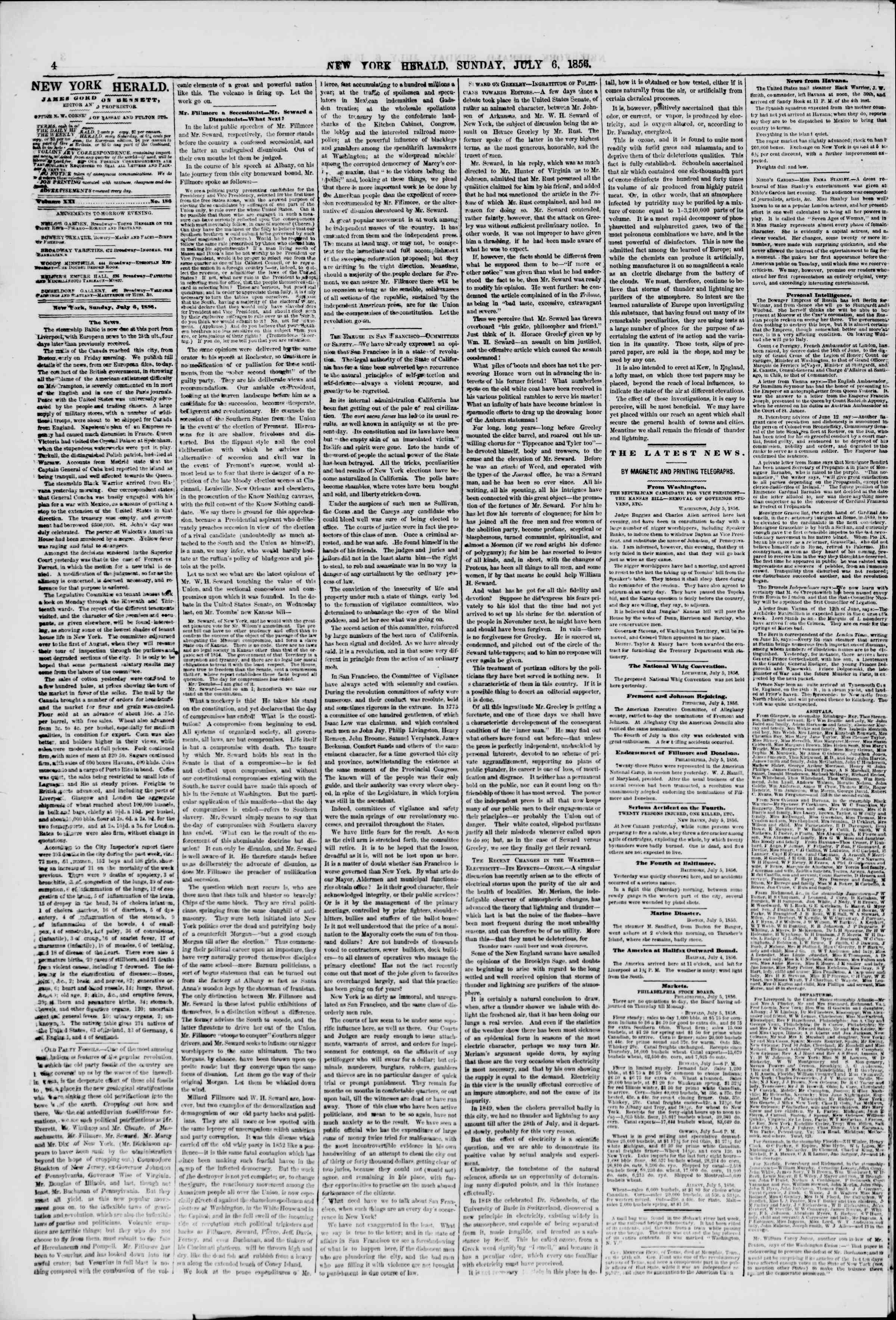 Newspaper of The New York Herald dated July 6, 1856 Page 4