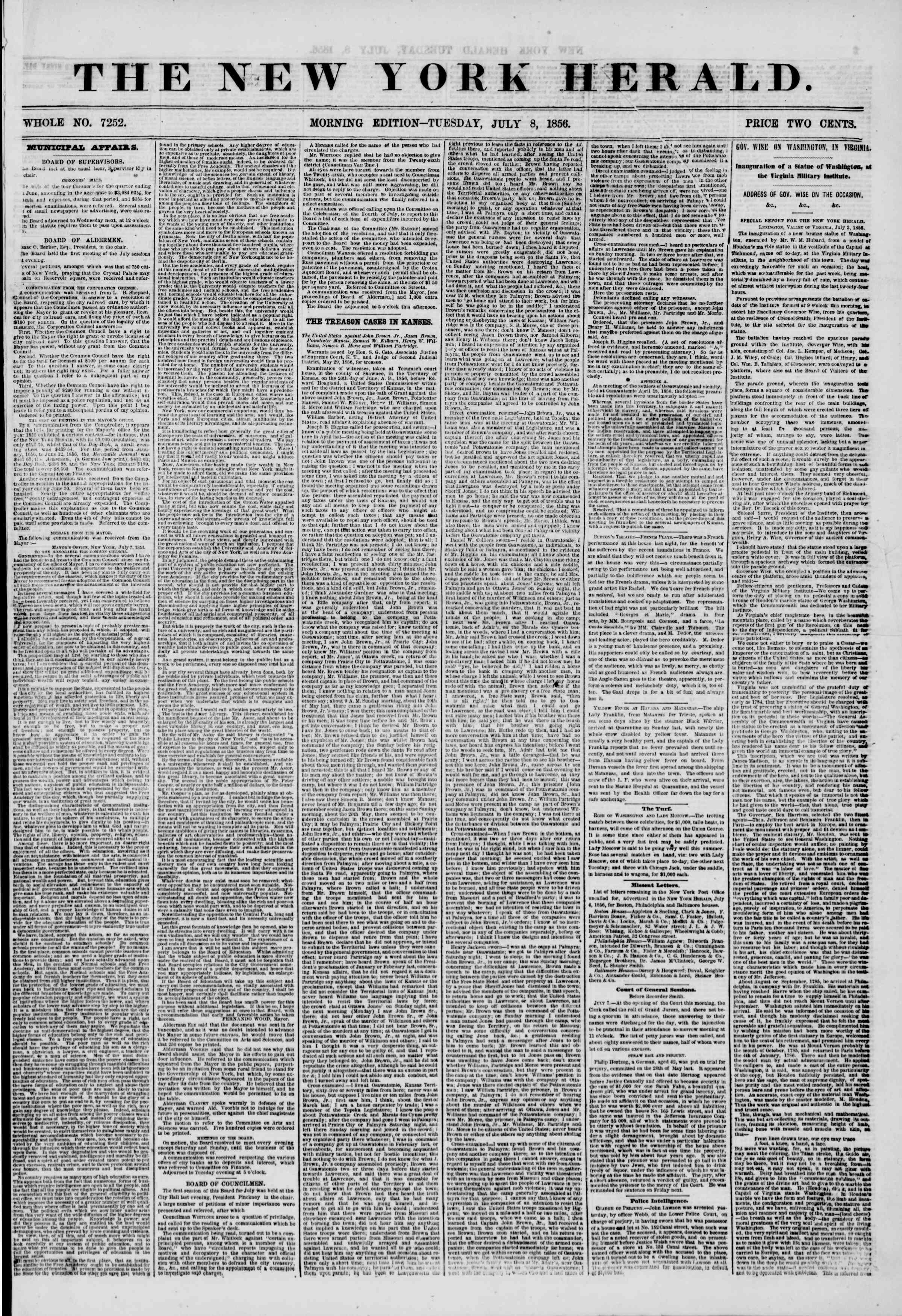 Newspaper of The New York Herald dated July 8, 1856 Page 1