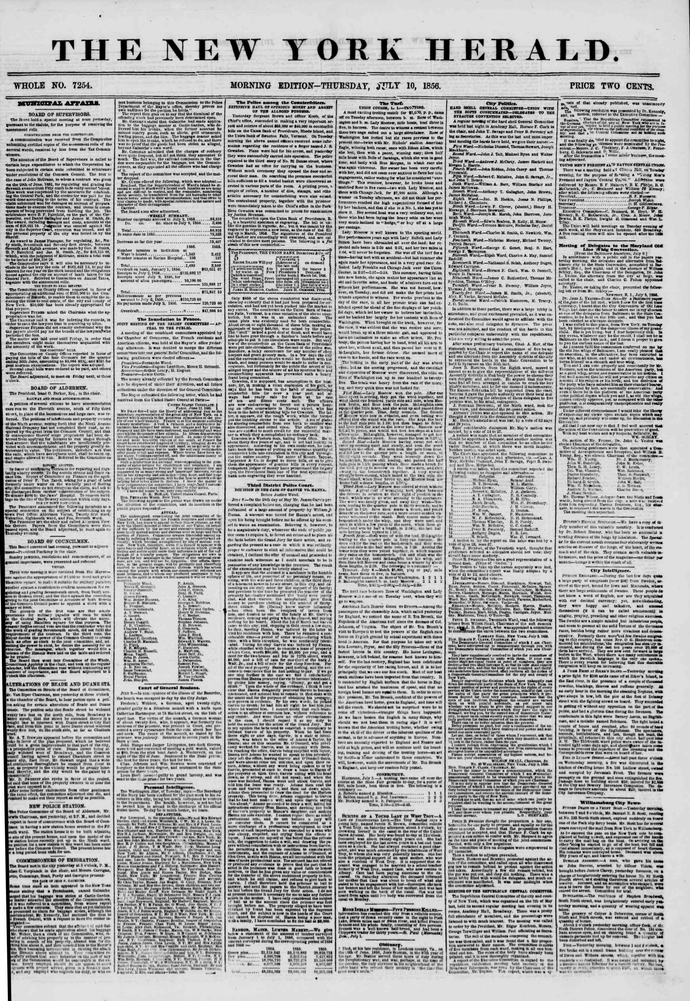 Newspaper of The New York Herald dated July 10, 1856 Page 1