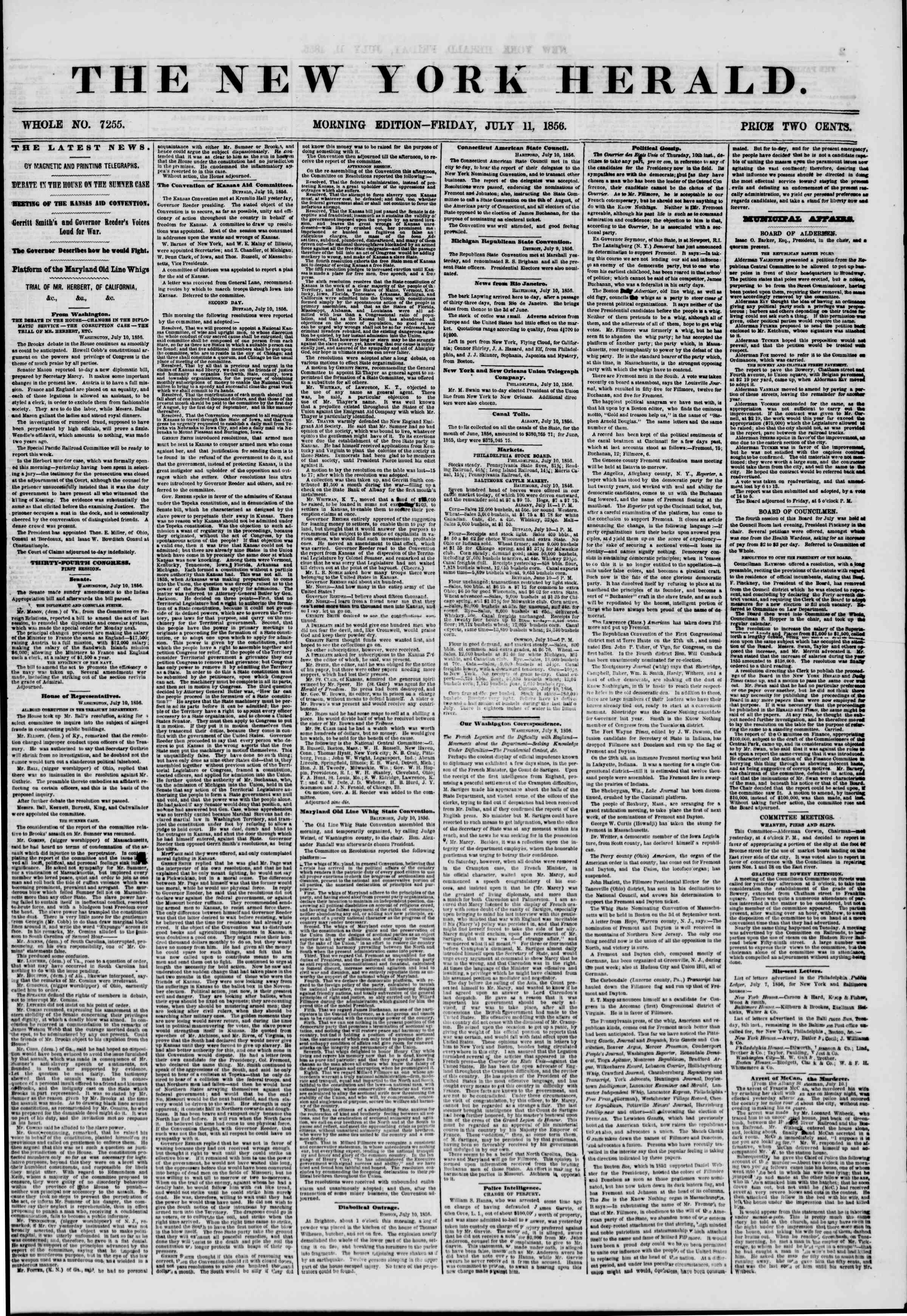 Newspaper of The New York Herald dated July 11, 1856 Page 1