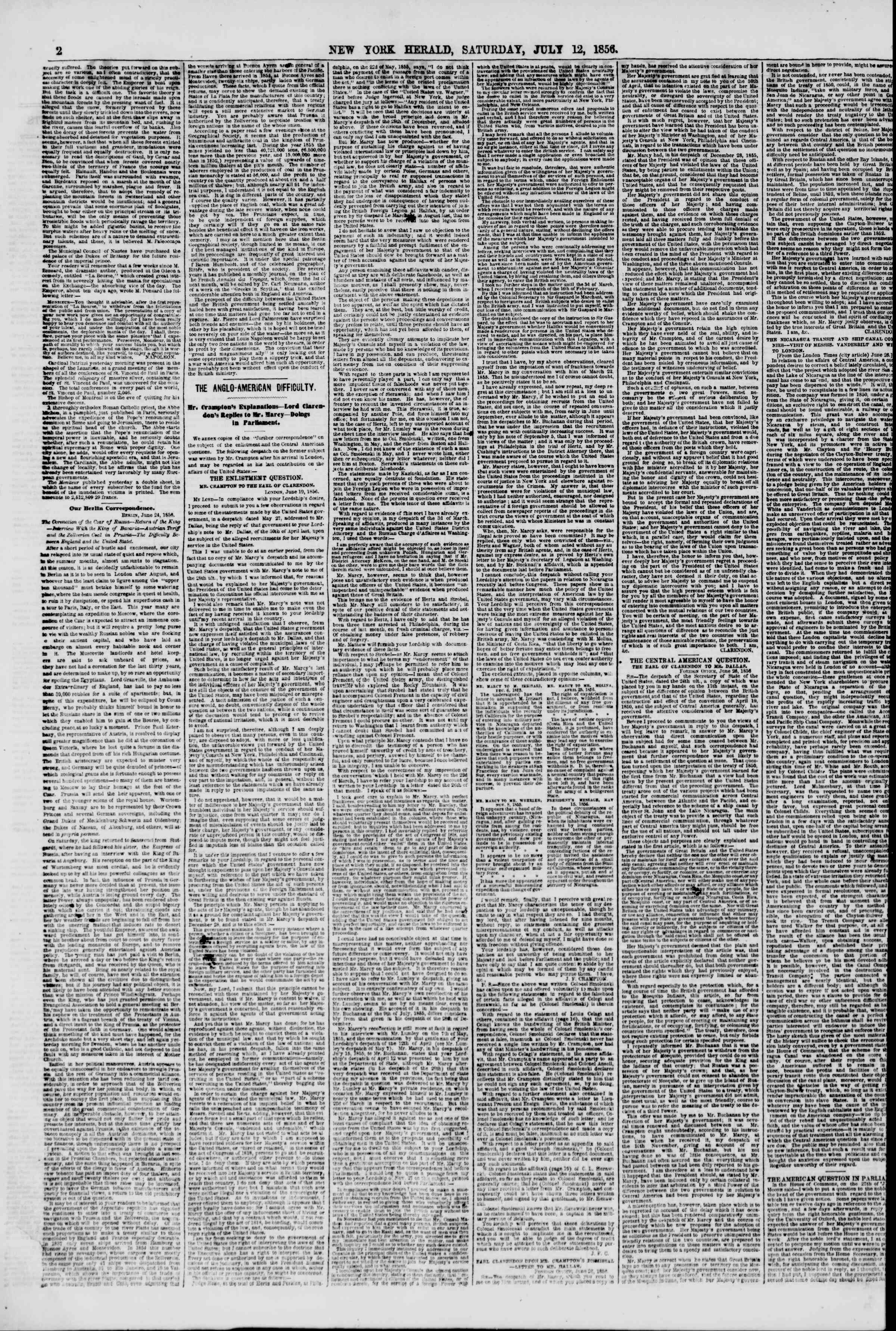 Newspaper of The New York Herald dated July 12, 1856 Page 2