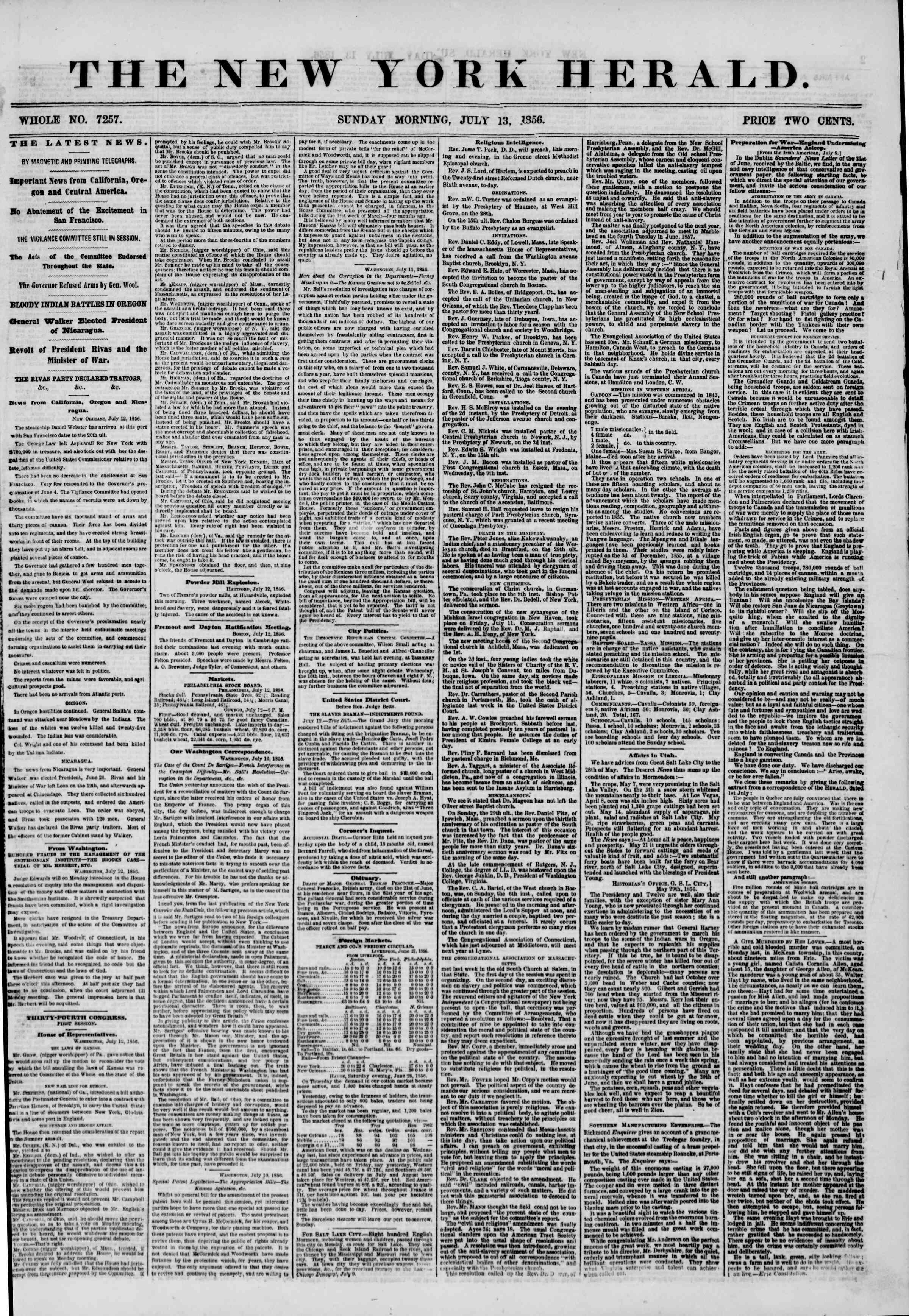 Newspaper of The New York Herald dated July 13, 1856 Page 1