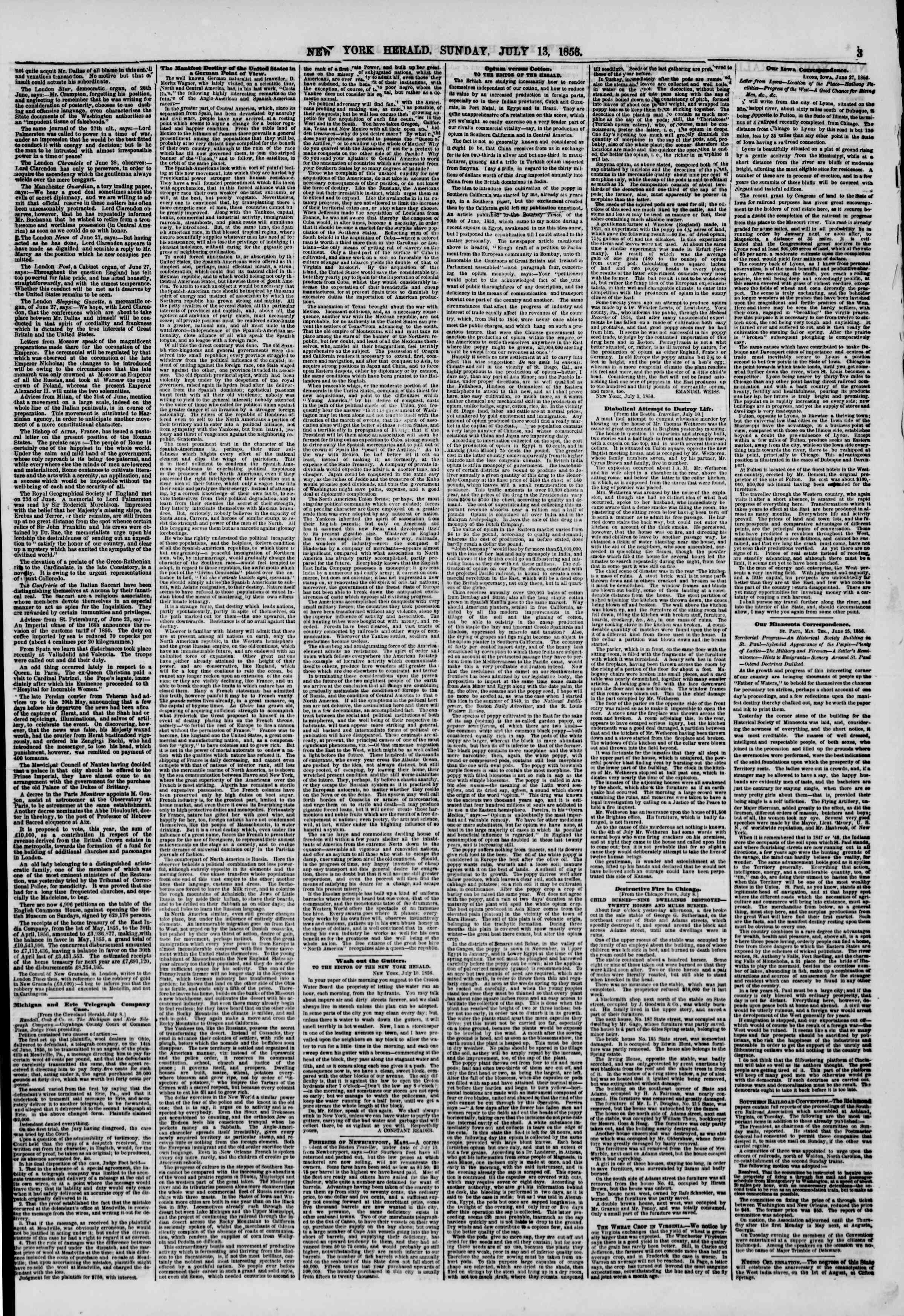 Newspaper of The New York Herald dated July 13, 1856 Page 3