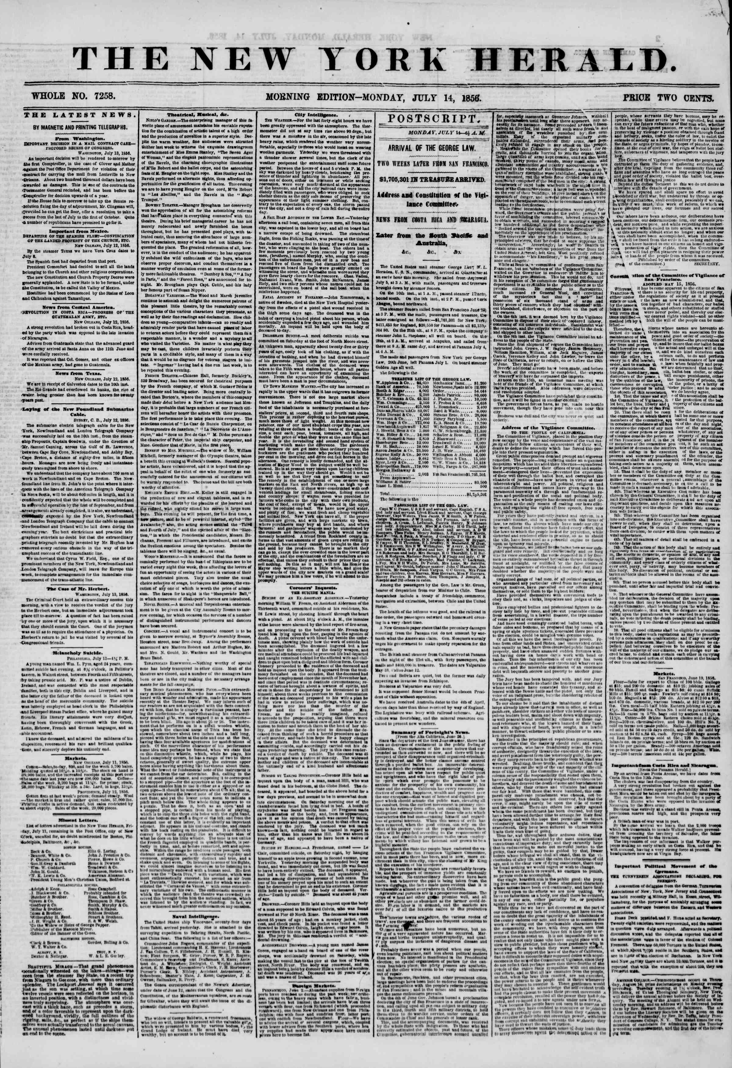 Newspaper of The New York Herald dated July 14, 1856 Page 1