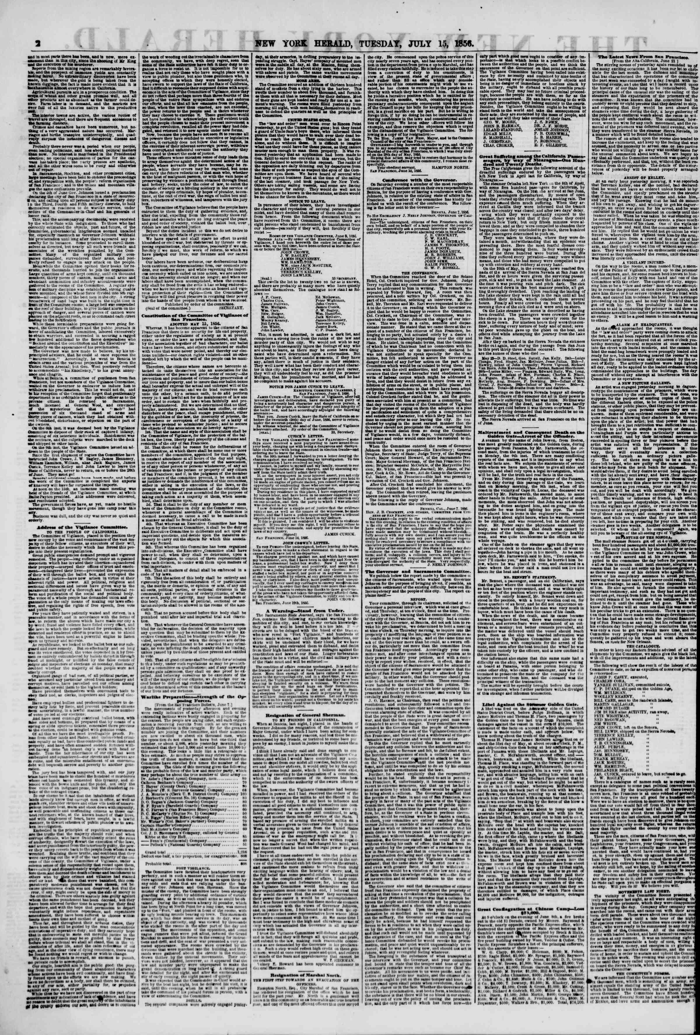 Newspaper of The New York Herald dated July 15, 1856 Page 2