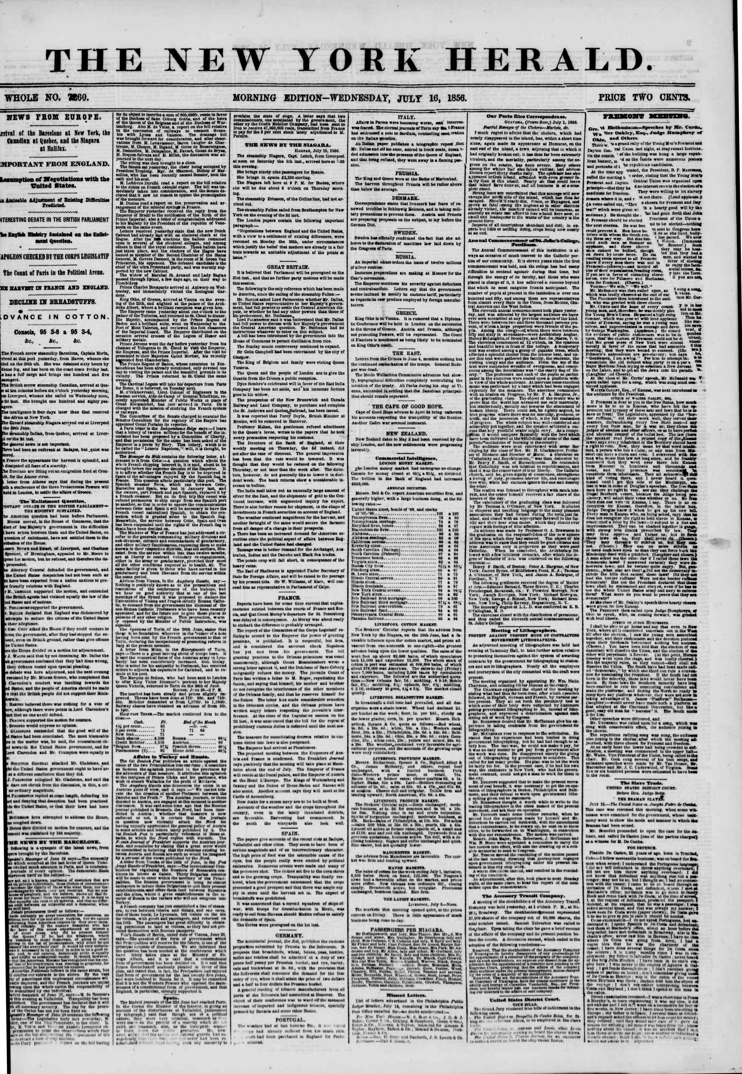 Newspaper of The New York Herald dated July 16, 1856 Page 1
