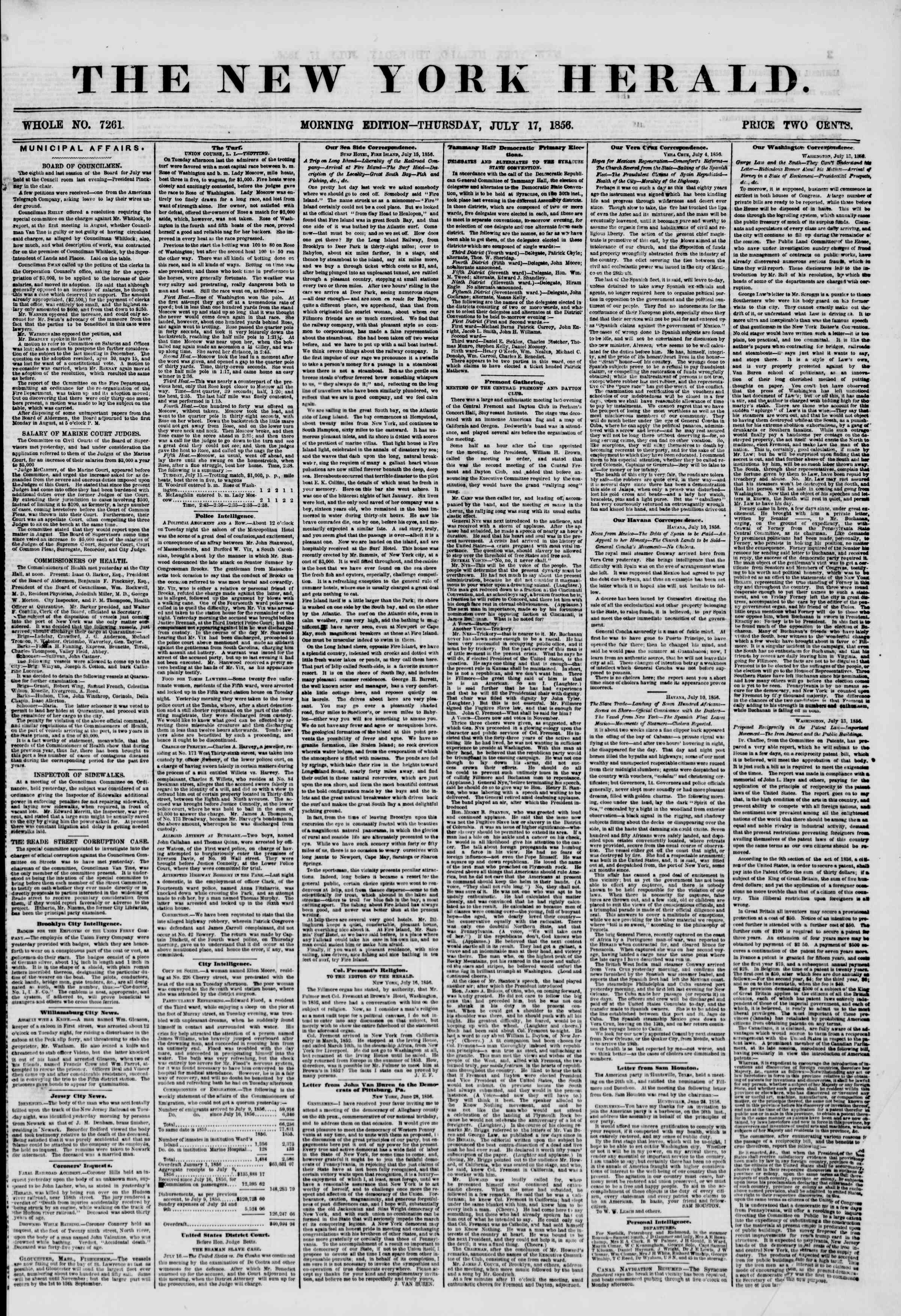 Newspaper of The New York Herald dated July 17, 1856 Page 1