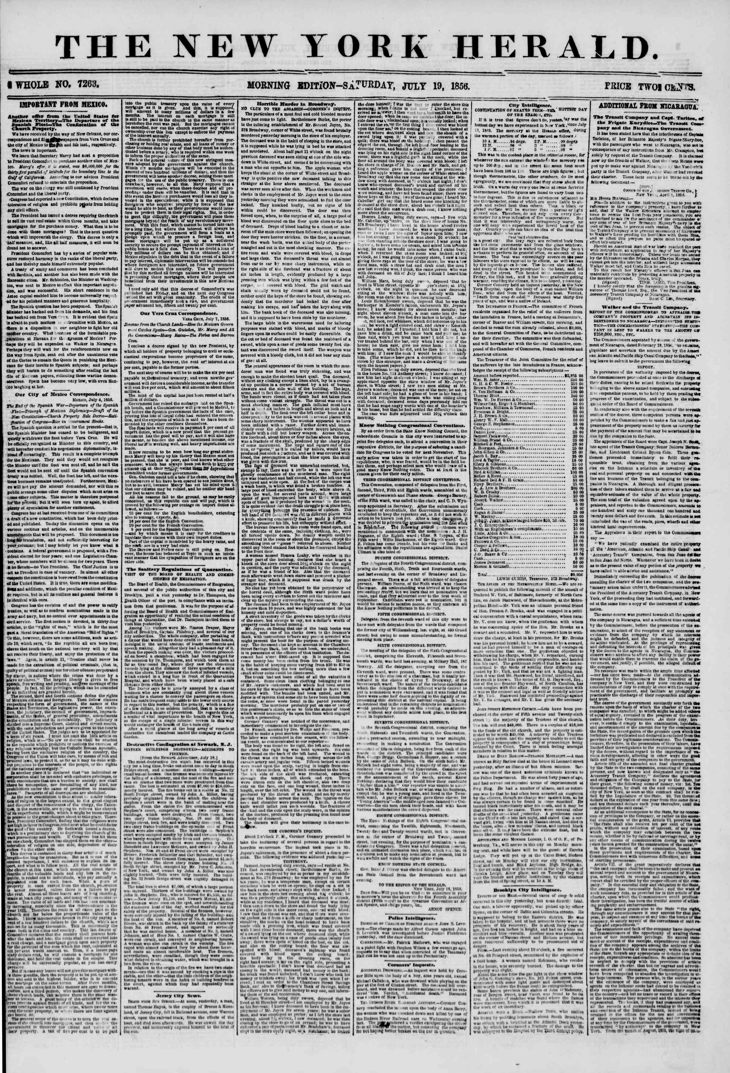 Newspaper of The New York Herald dated July 19, 1856 Page 1
