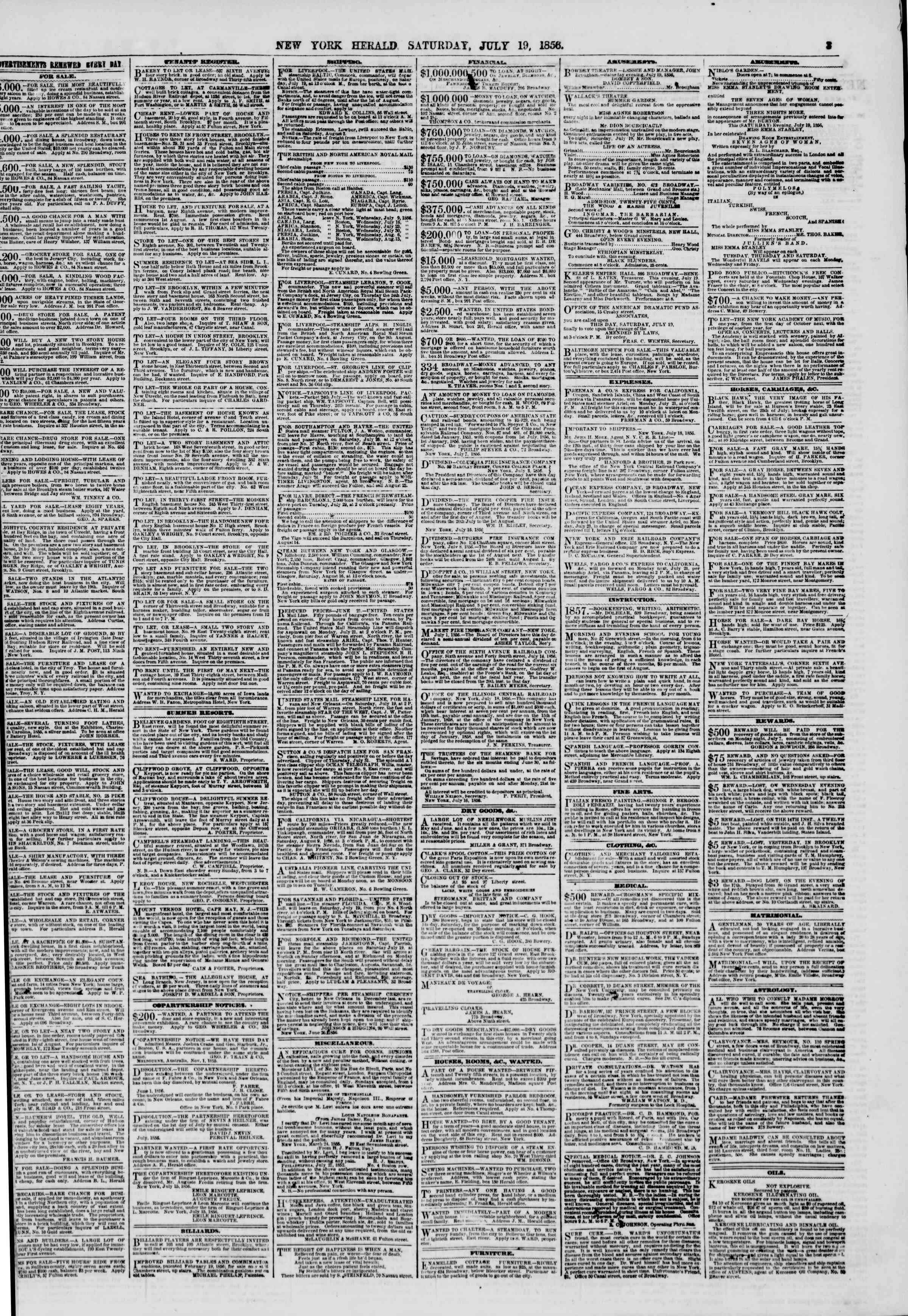 Newspaper of The New York Herald dated July 19, 1856 Page 3