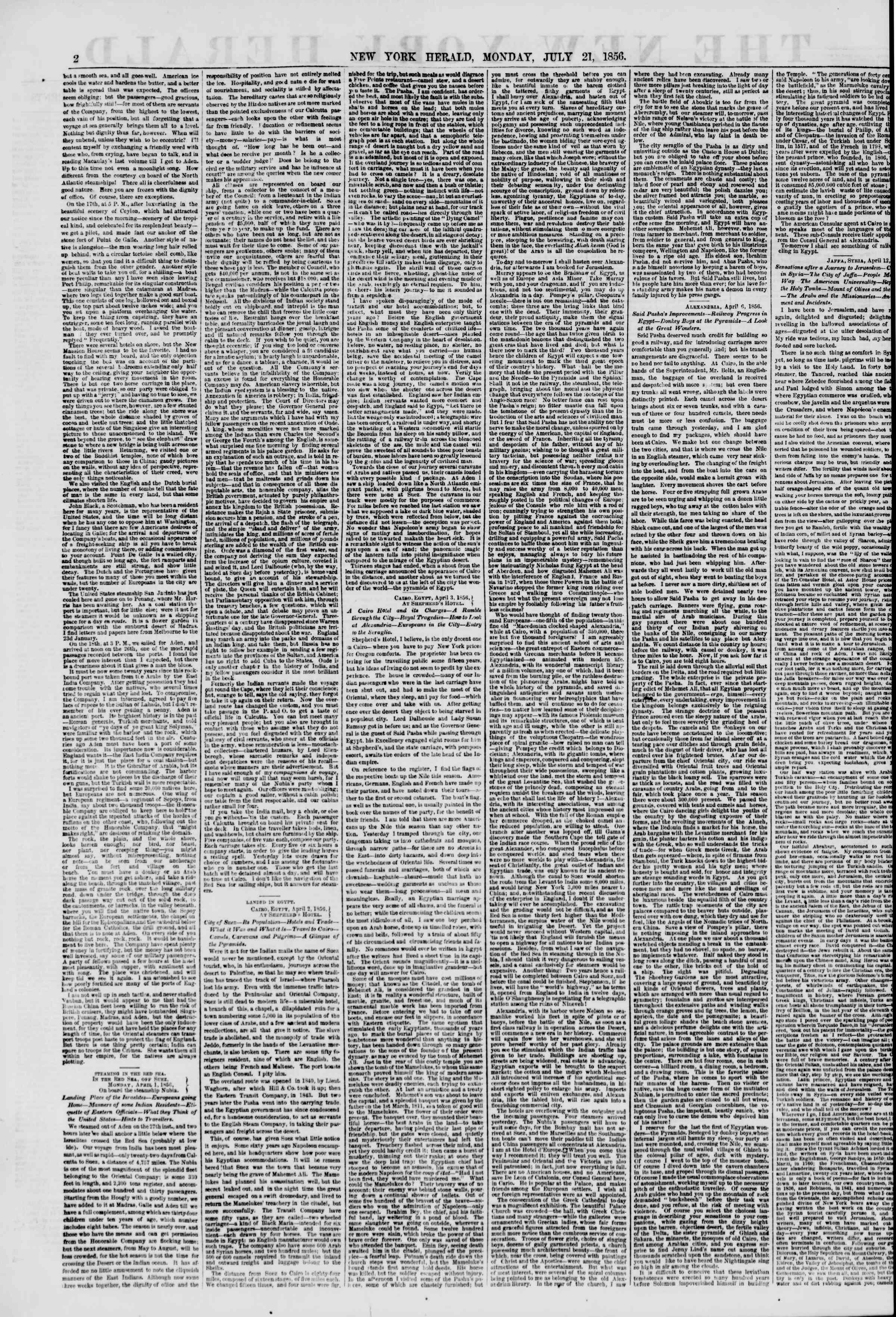 Newspaper of The New York Herald dated July 21, 1856 Page 2