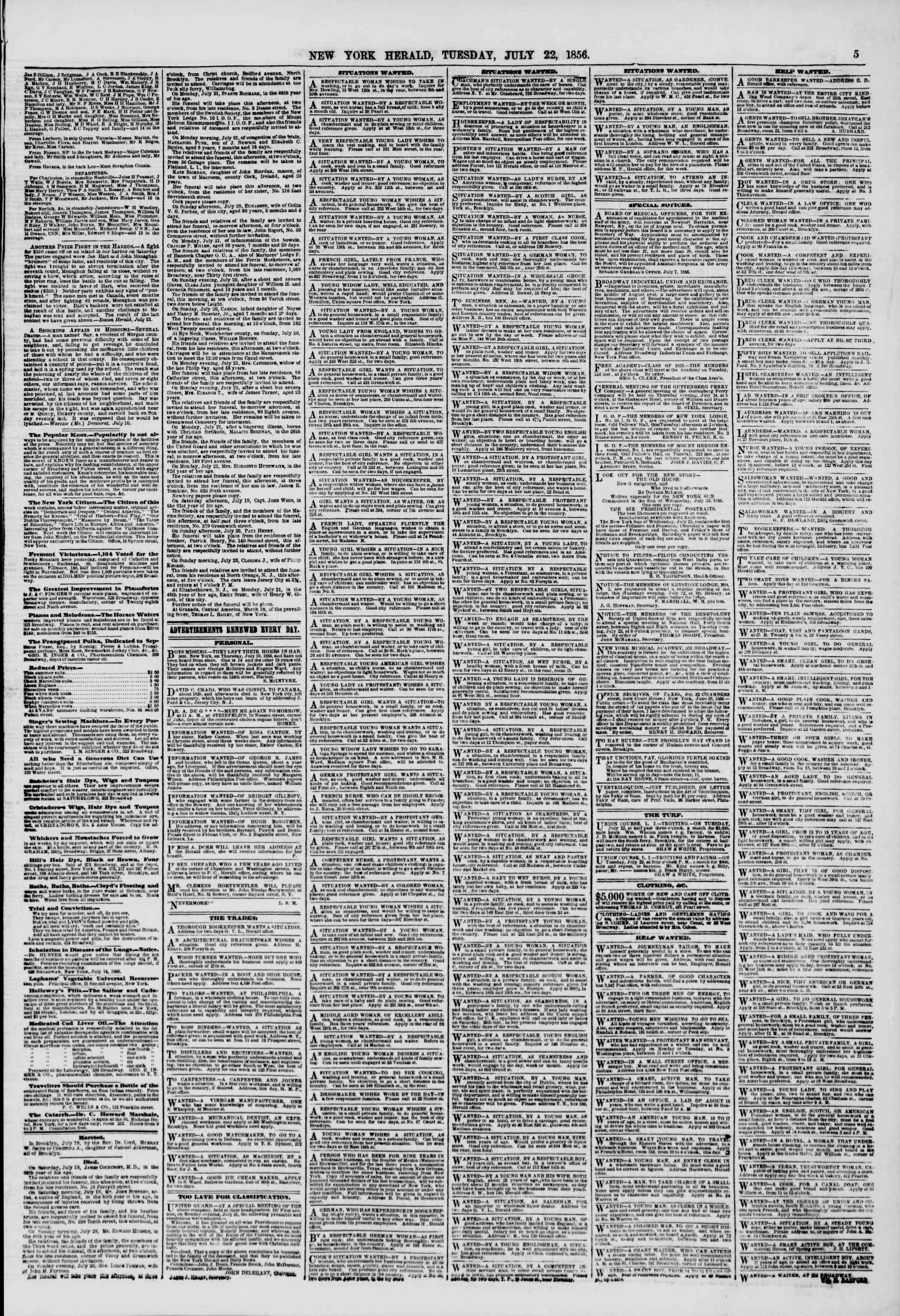 Newspaper of The New York Herald dated July 22, 1856 Page 5