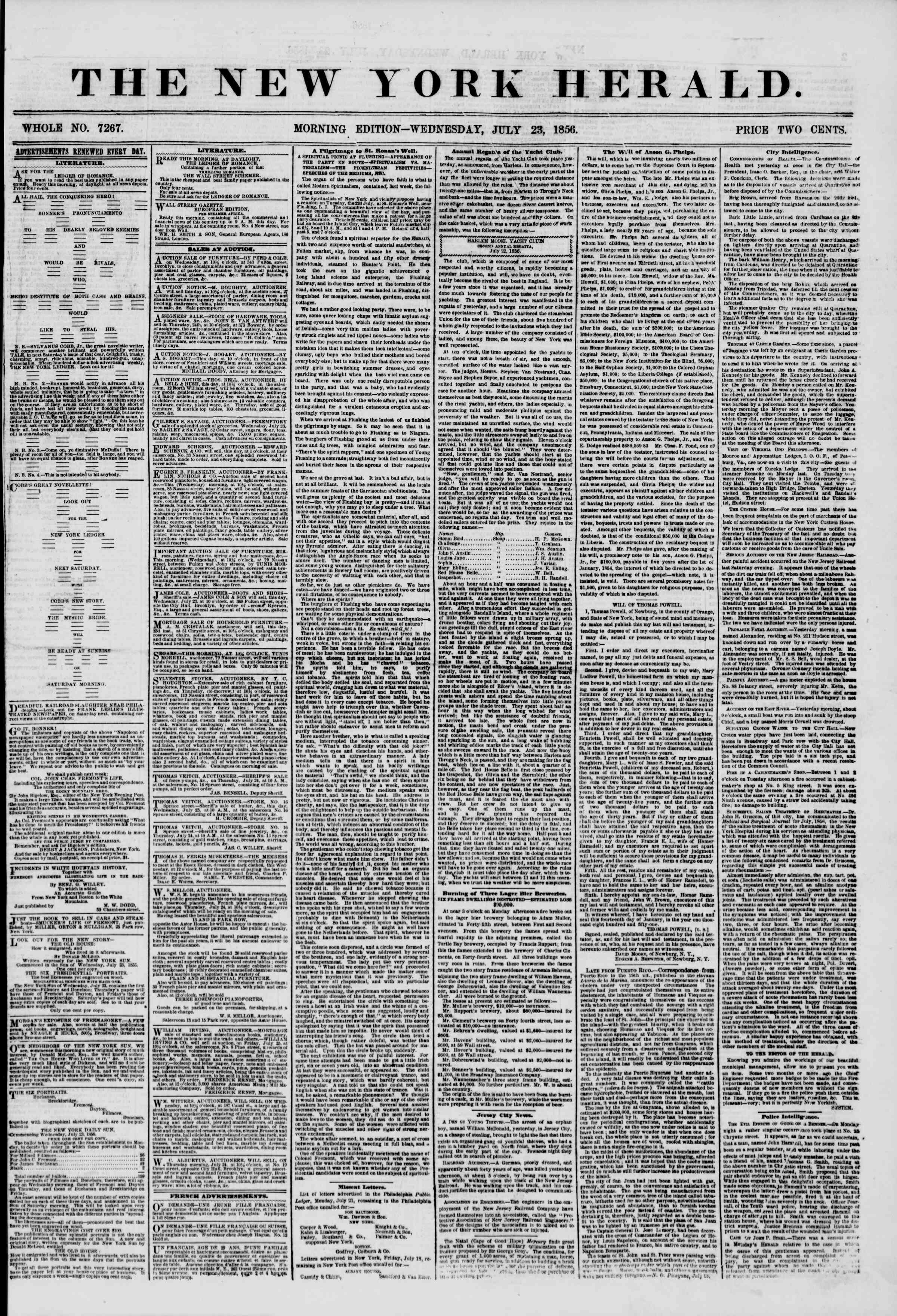 Newspaper of The New York Herald dated July 23, 1856 Page 1