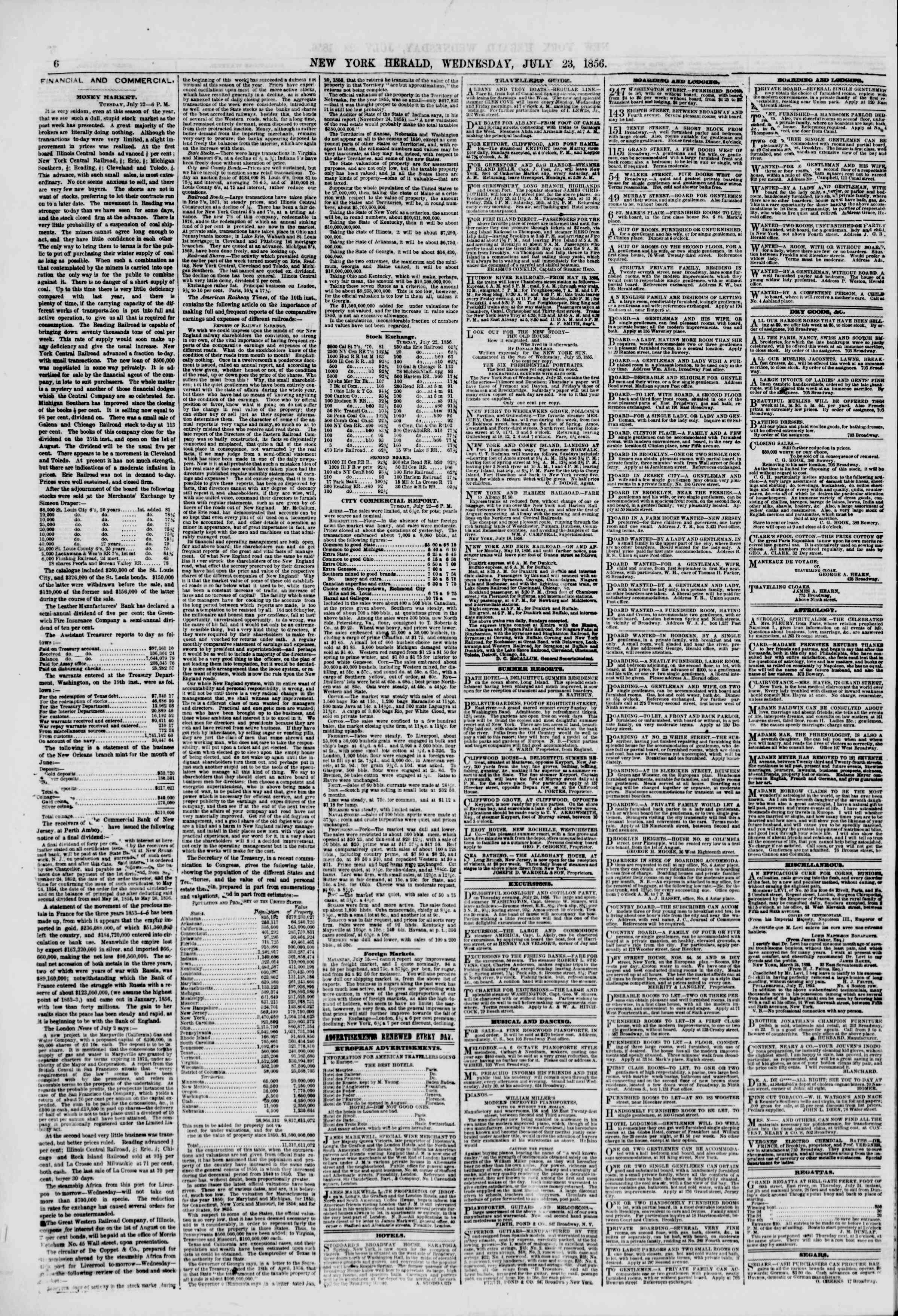 Newspaper of The New York Herald dated July 23, 1856 Page 6