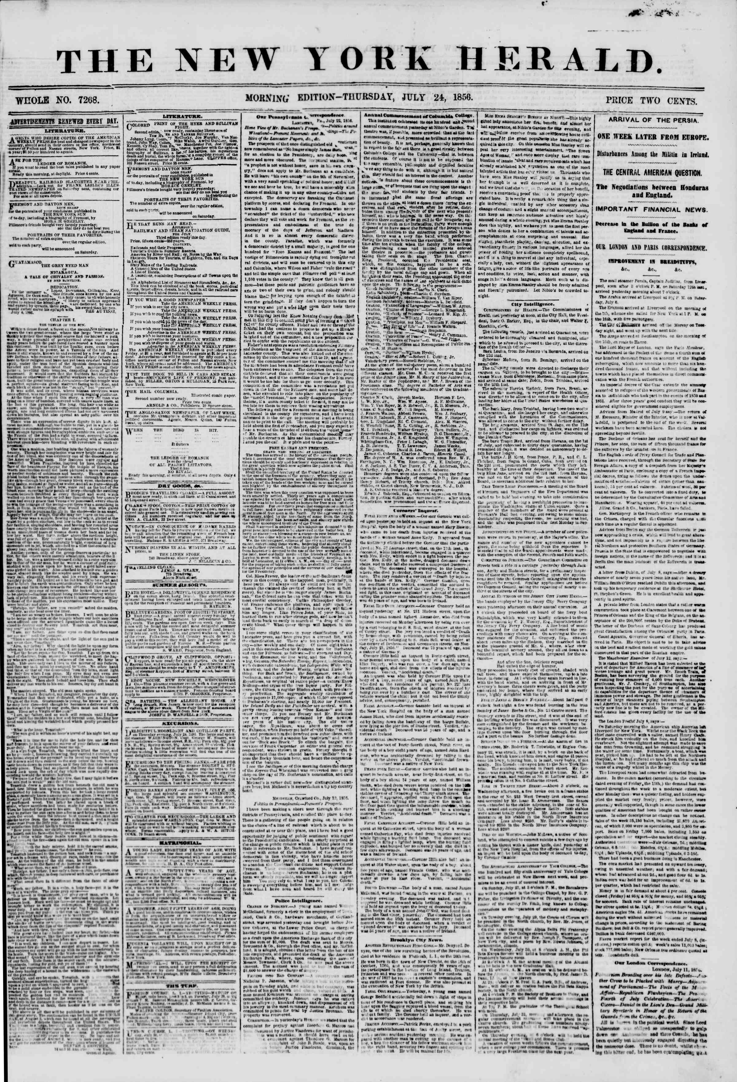 Newspaper of The New York Herald dated July 24, 1856 Page 1