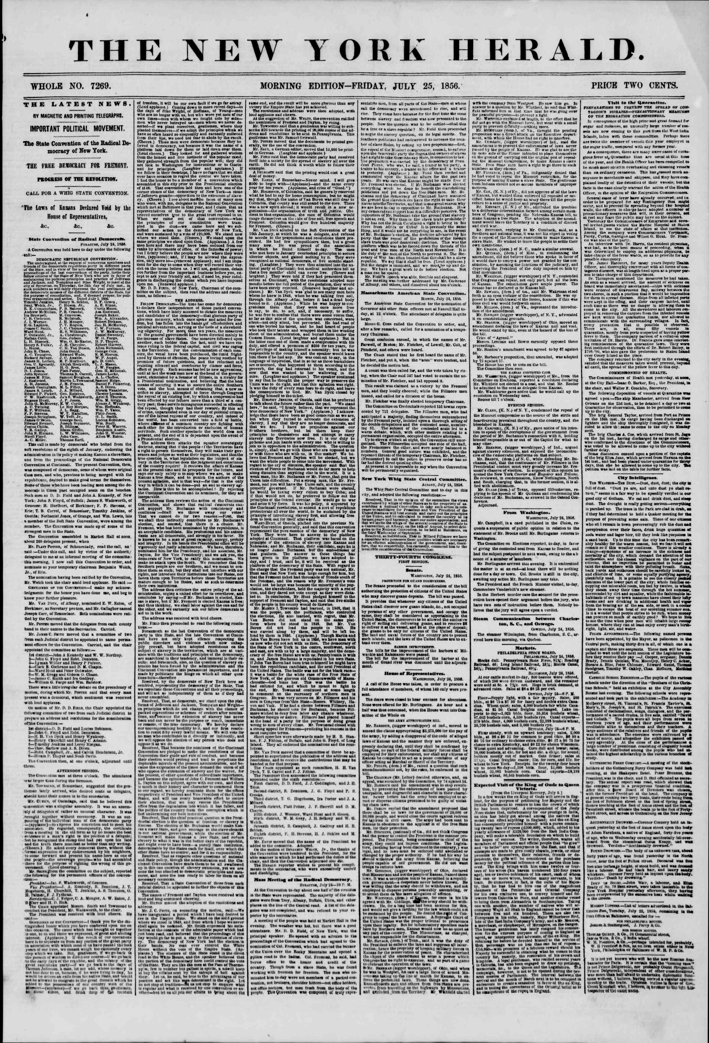 Newspaper of The New York Herald dated July 25, 1856 Page 1