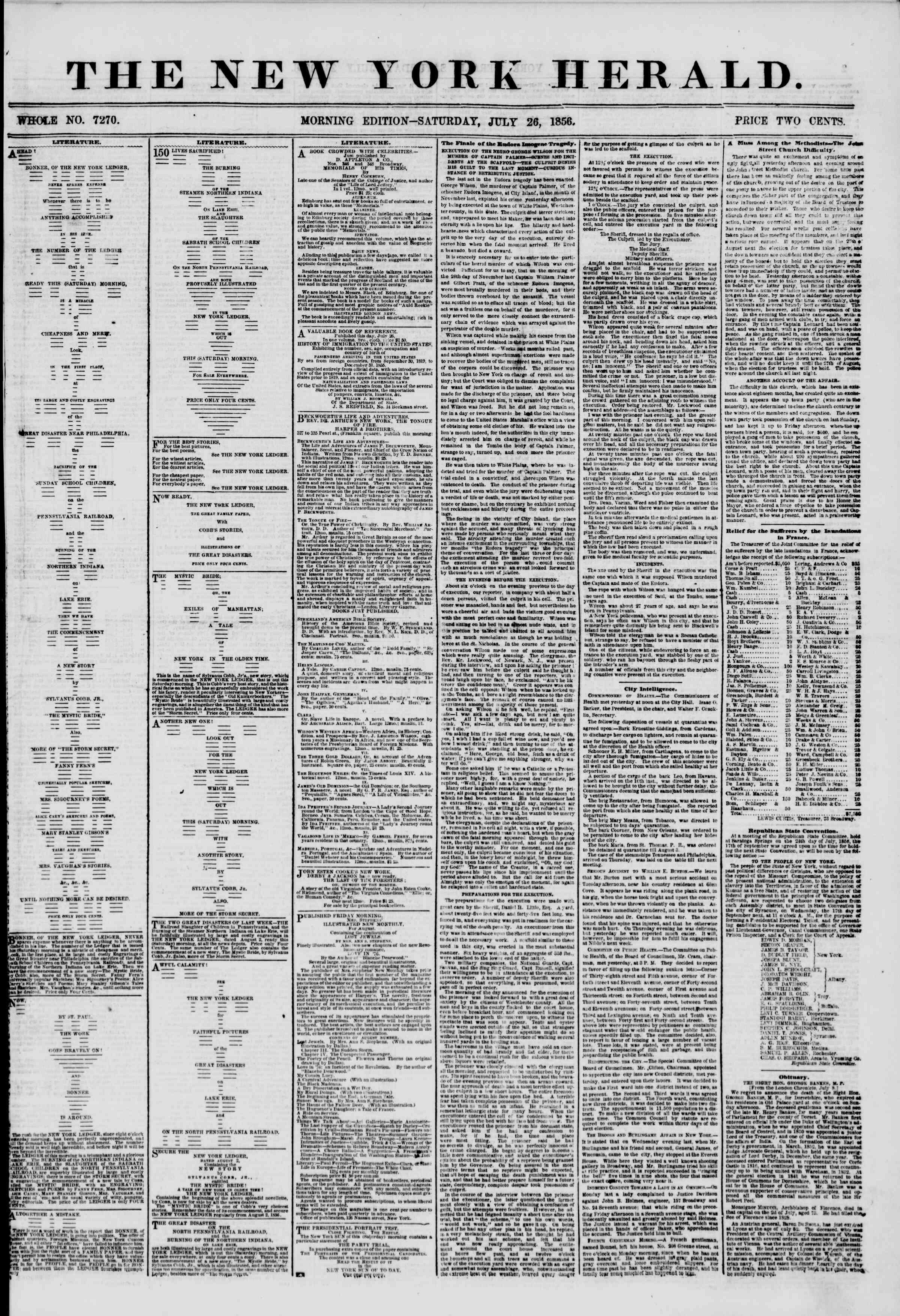 Newspaper of The New York Herald dated July 26, 1856 Page 1