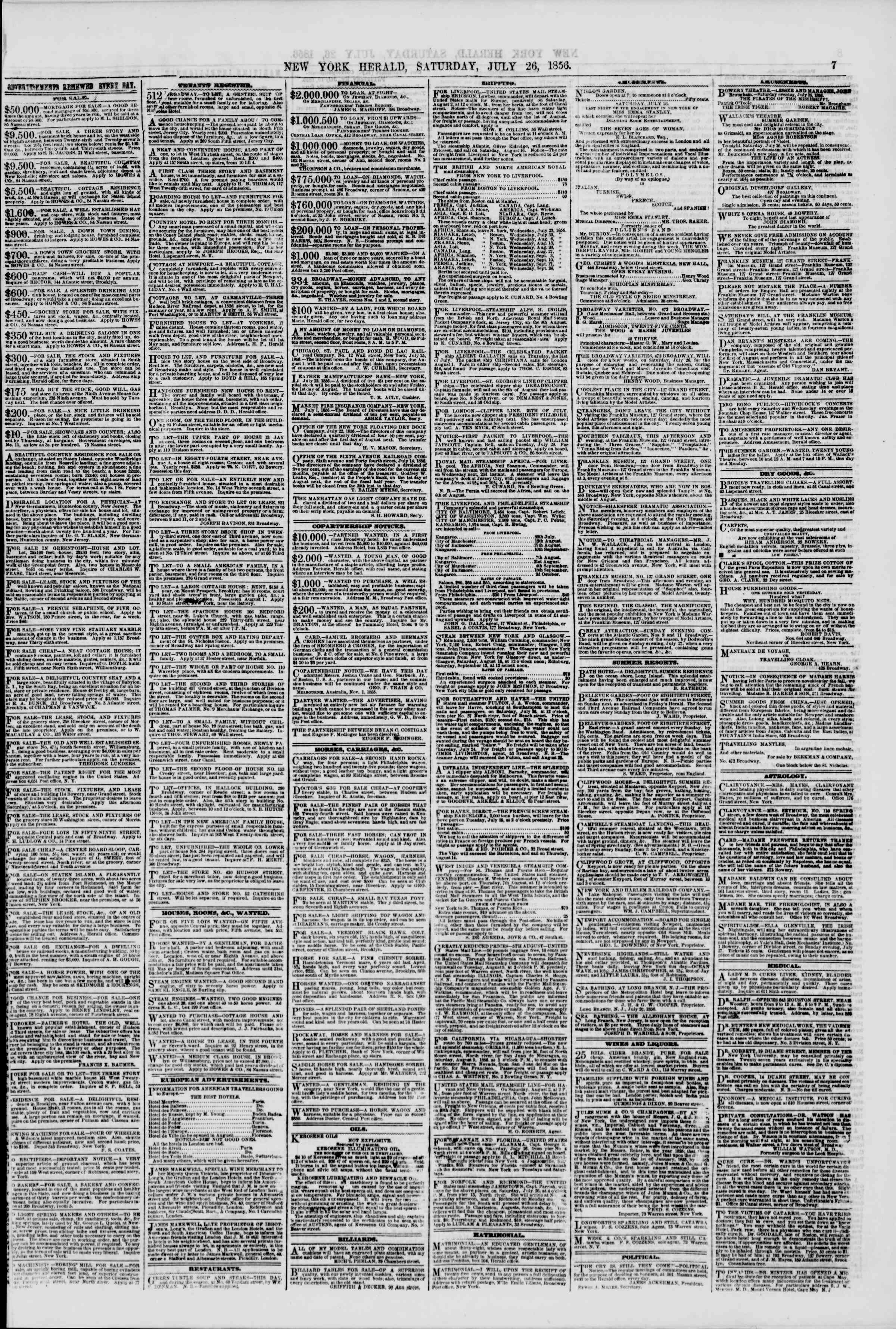 Newspaper of The New York Herald dated July 26, 1856 Page 7