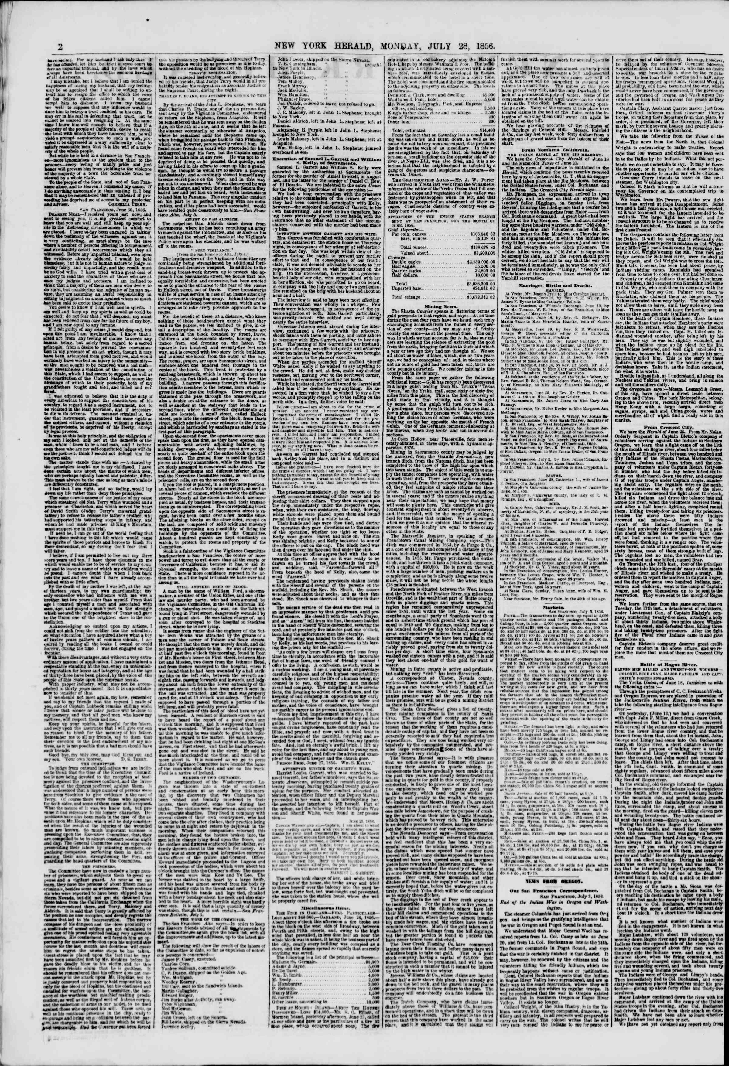 Newspaper of The New York Herald dated July 28, 1856 Page 2
