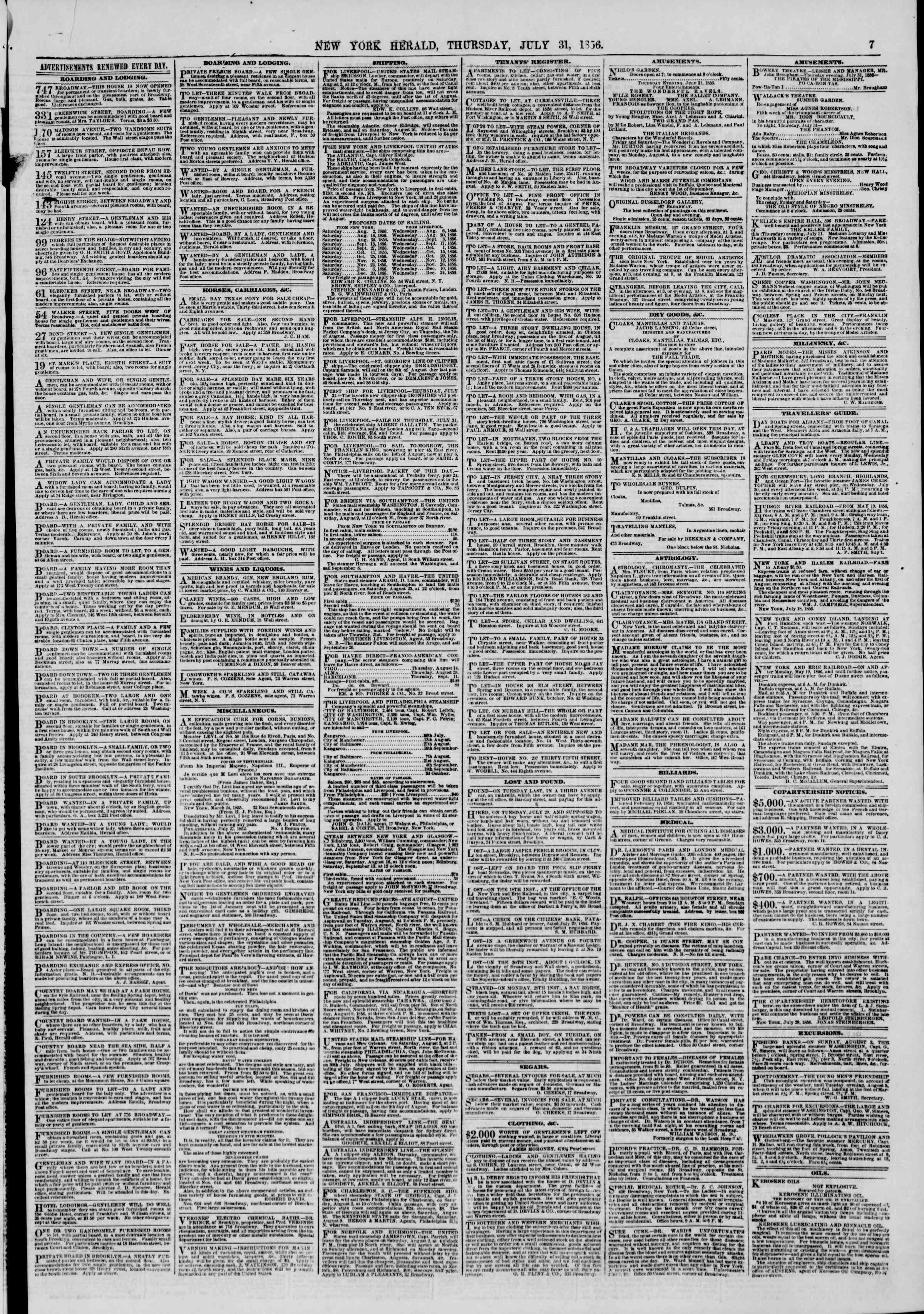 Newspaper of The New York Herald dated July 31, 1856 Page 7