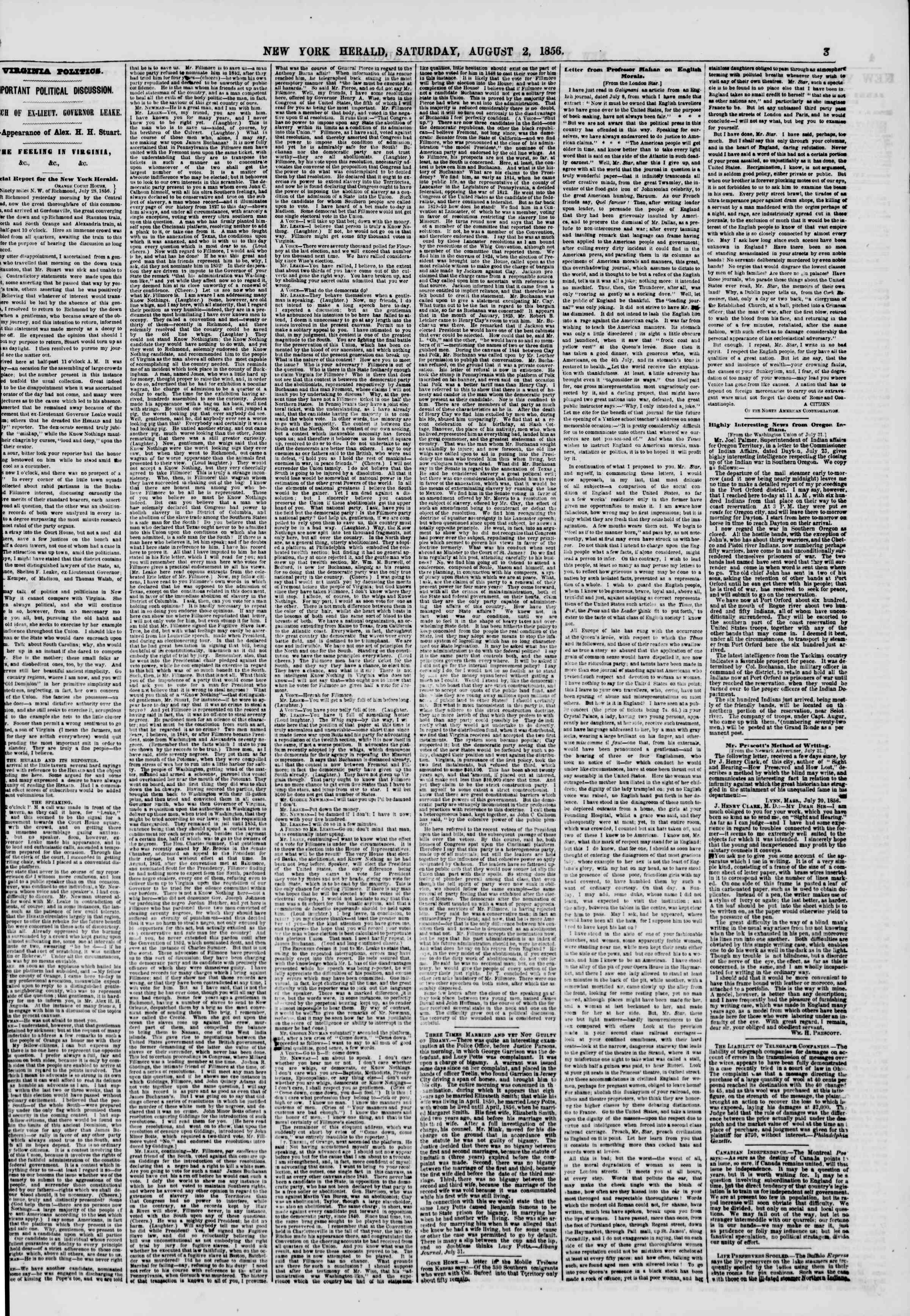 Newspaper of The New York Herald dated August 2, 1856 Page 3