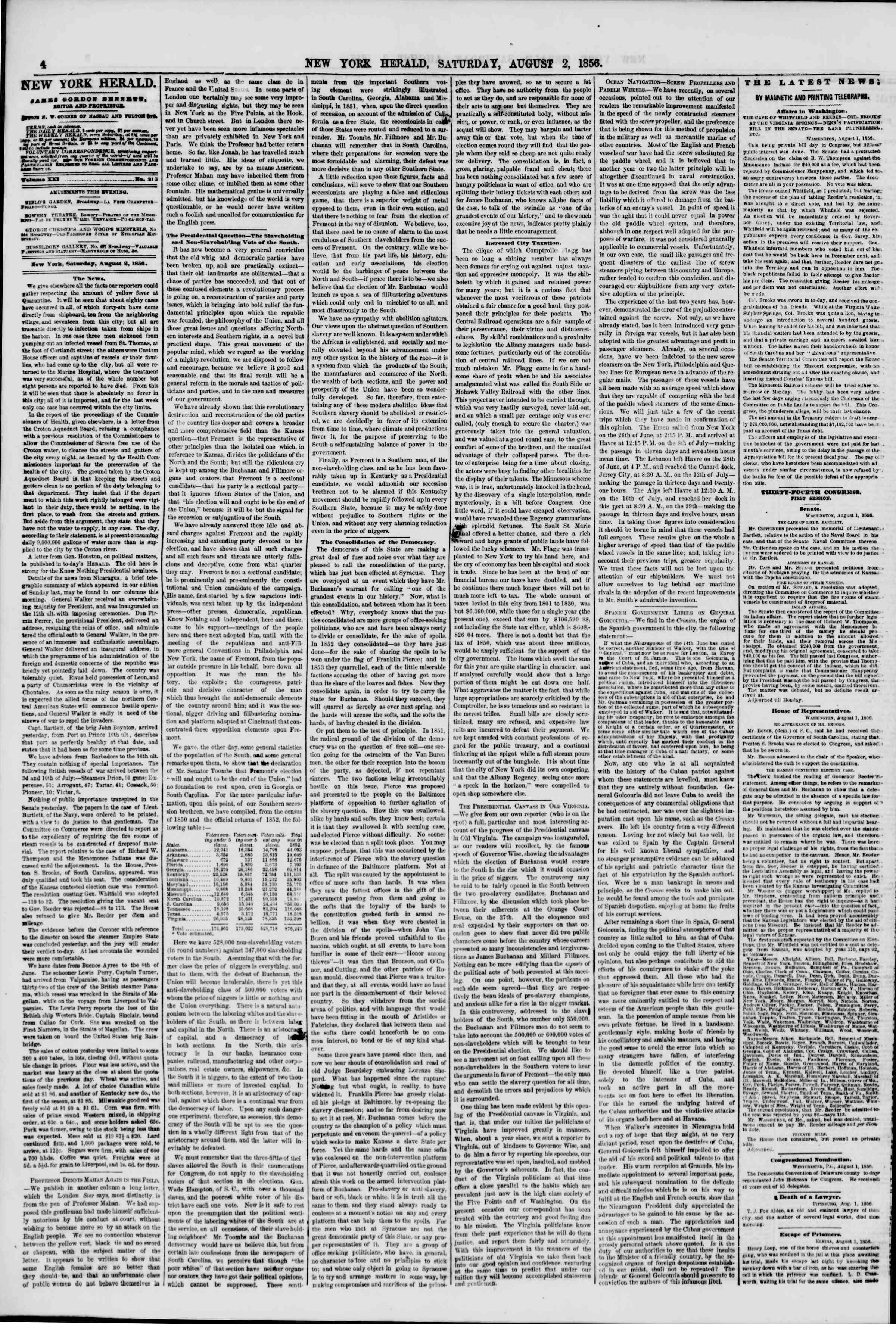 Newspaper of The New York Herald dated August 2, 1856 Page 4
