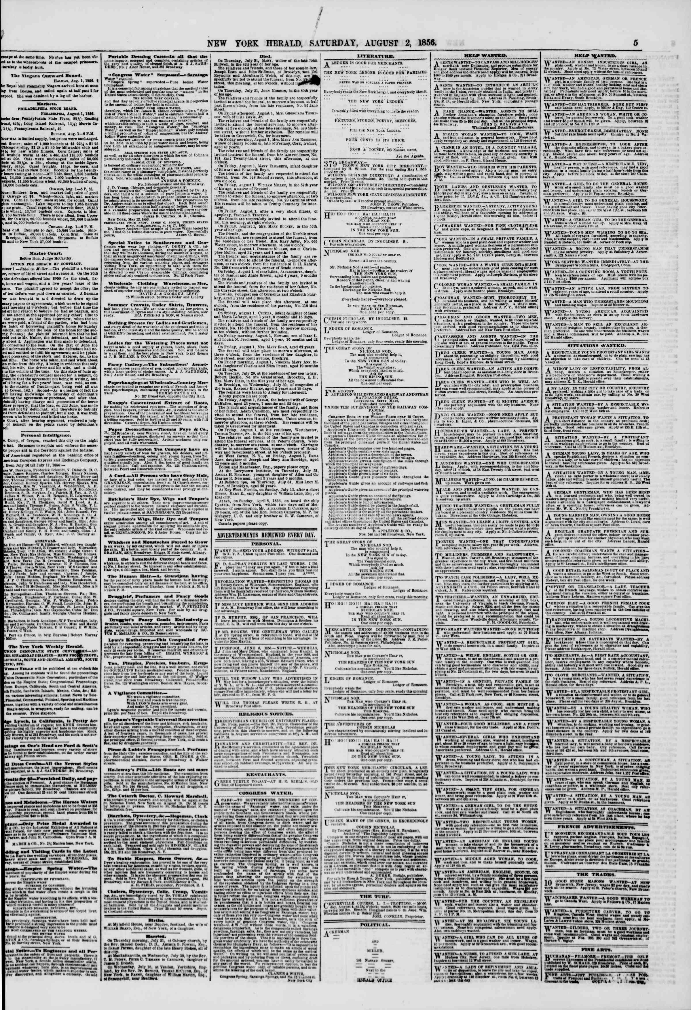 Newspaper of The New York Herald dated August 2, 1856 Page 5