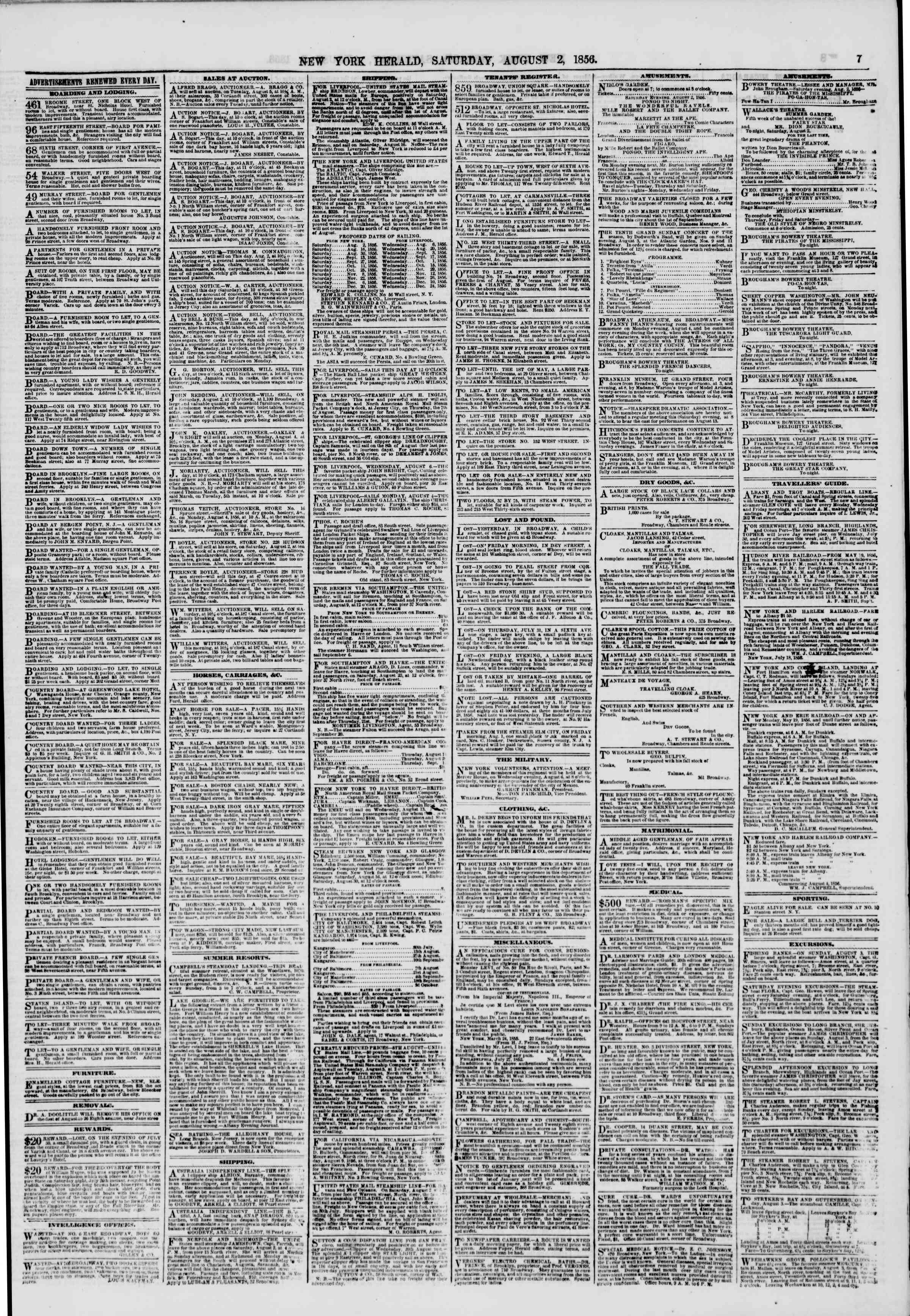 Newspaper of The New York Herald dated August 2, 1856 Page 7