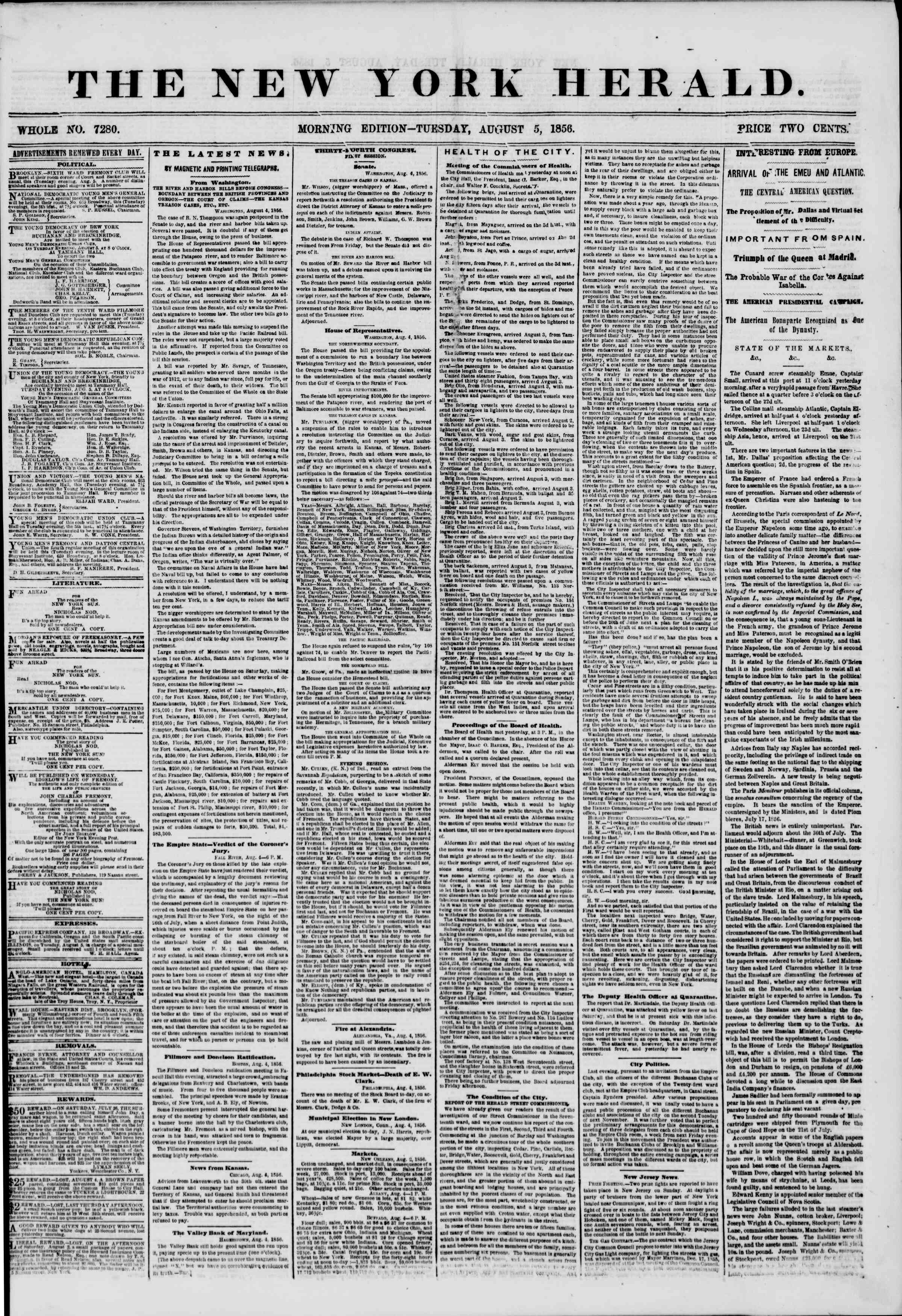 Newspaper of The New York Herald dated August 5, 1856 Page 1
