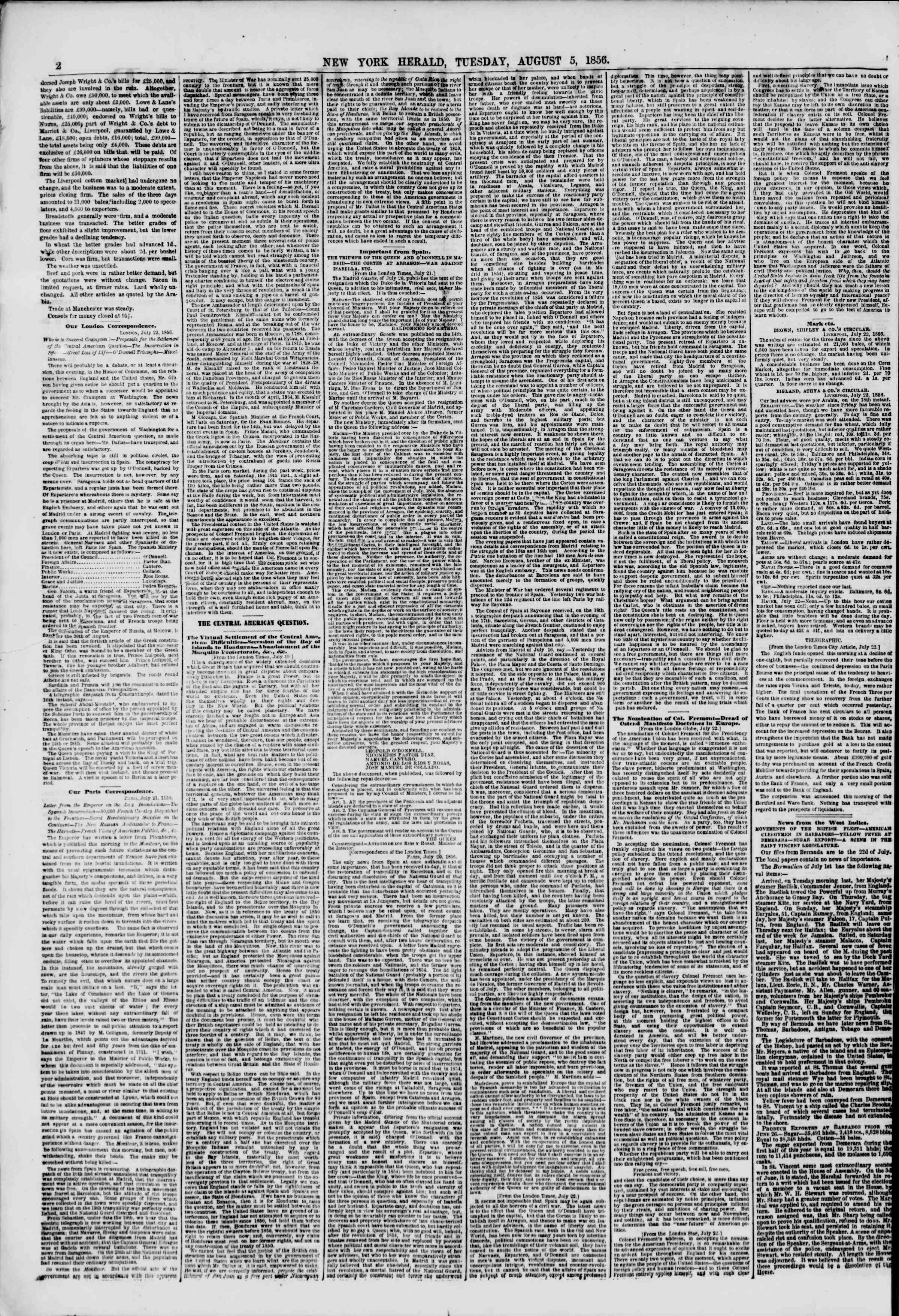 Newspaper of The New York Herald dated August 5, 1856 Page 2