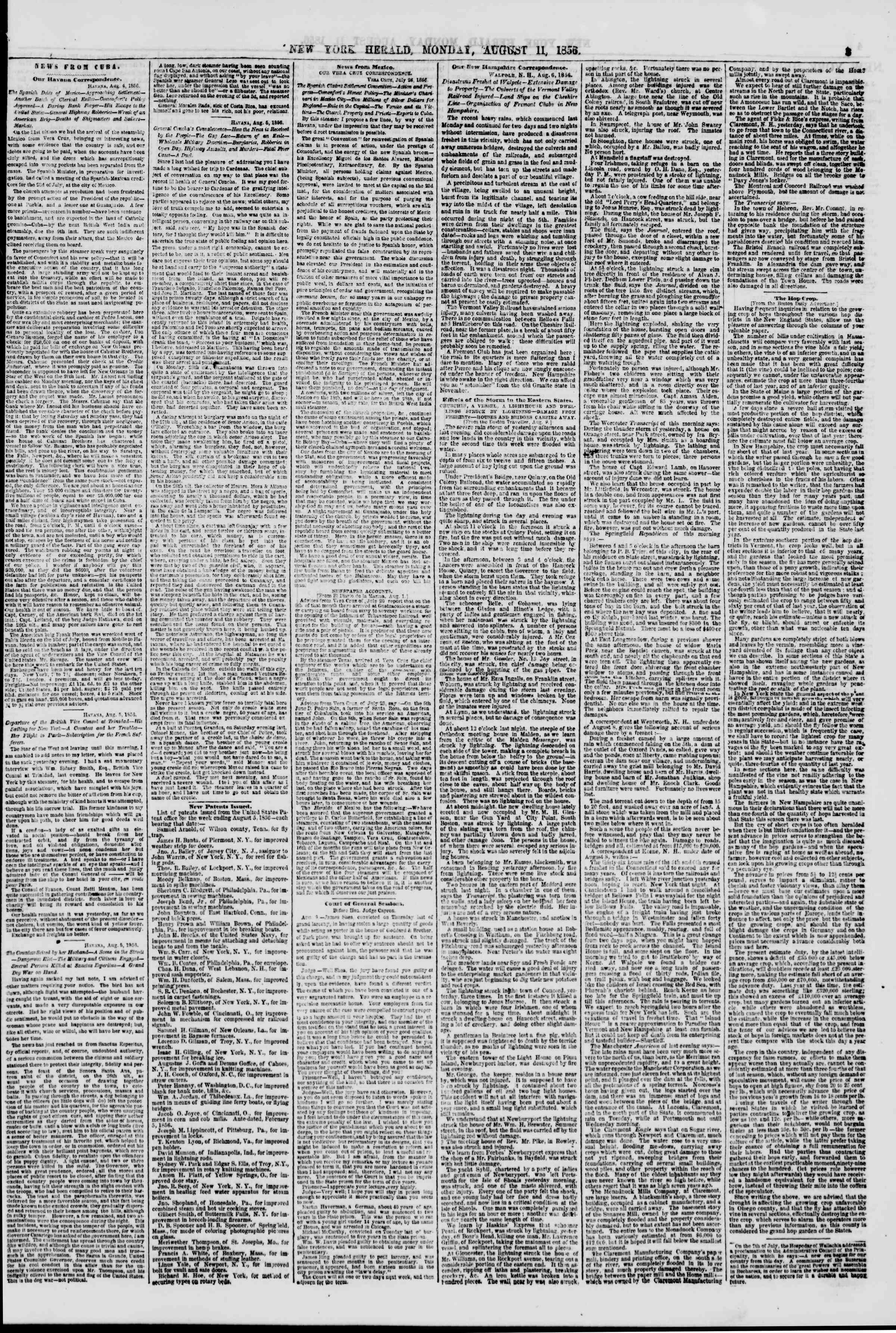 Newspaper of The New York Herald dated August 11, 1856 Page 3