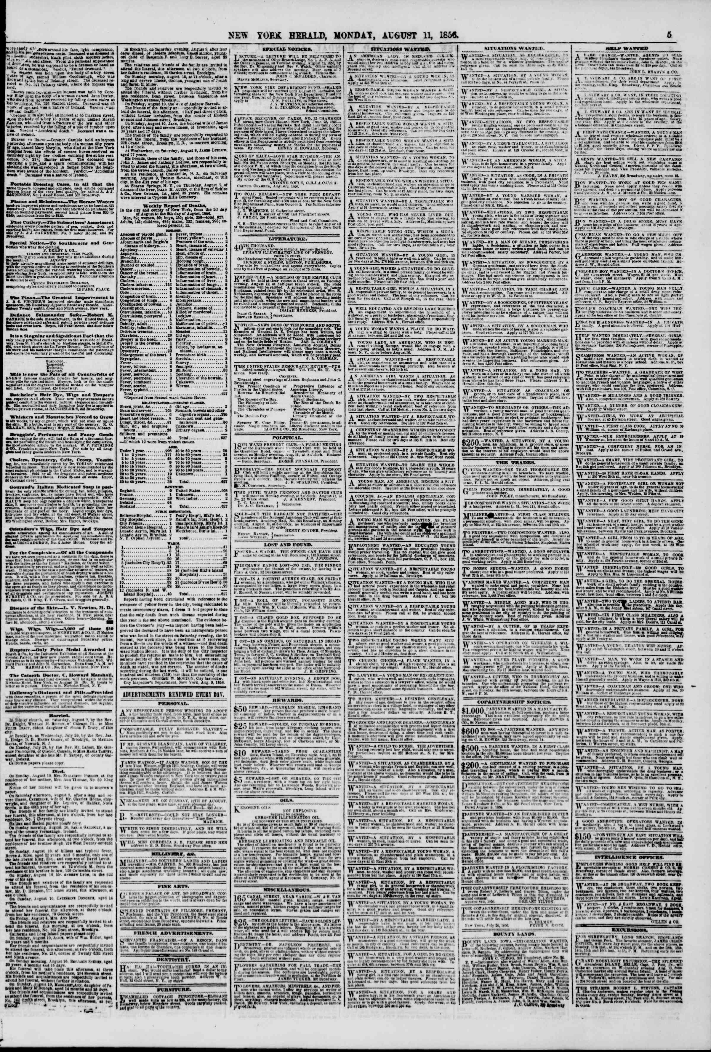 Newspaper of The New York Herald dated August 11, 1856 Page 5