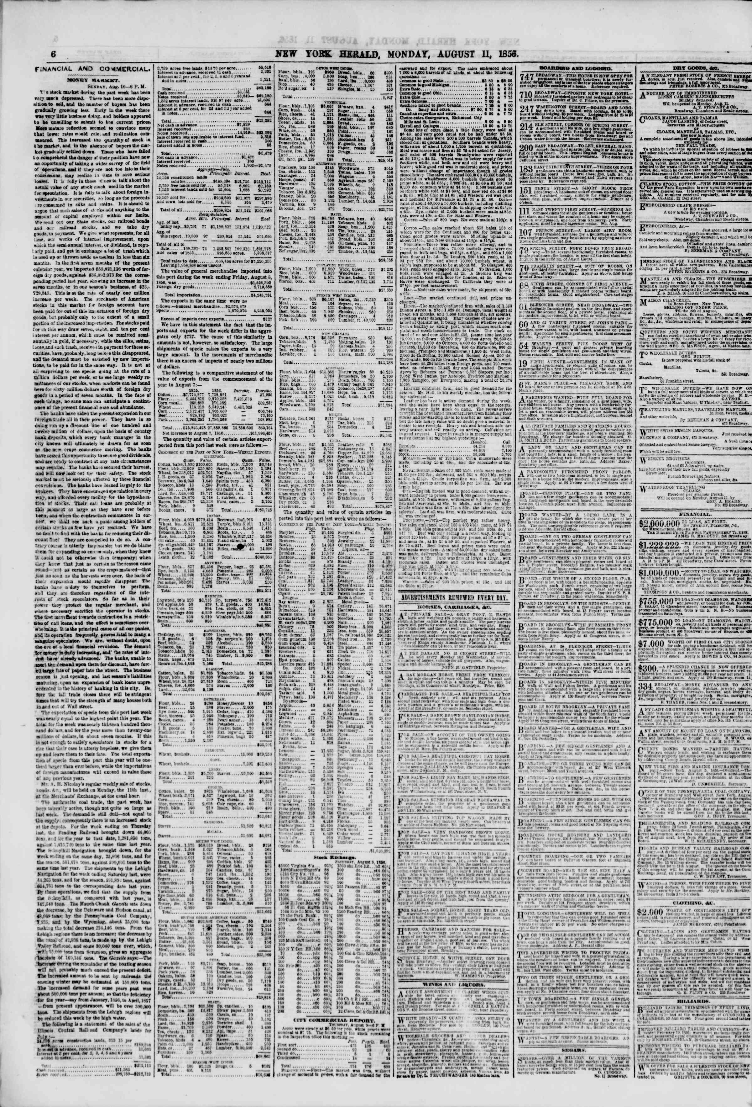 Newspaper of The New York Herald dated August 11, 1856 Page 6