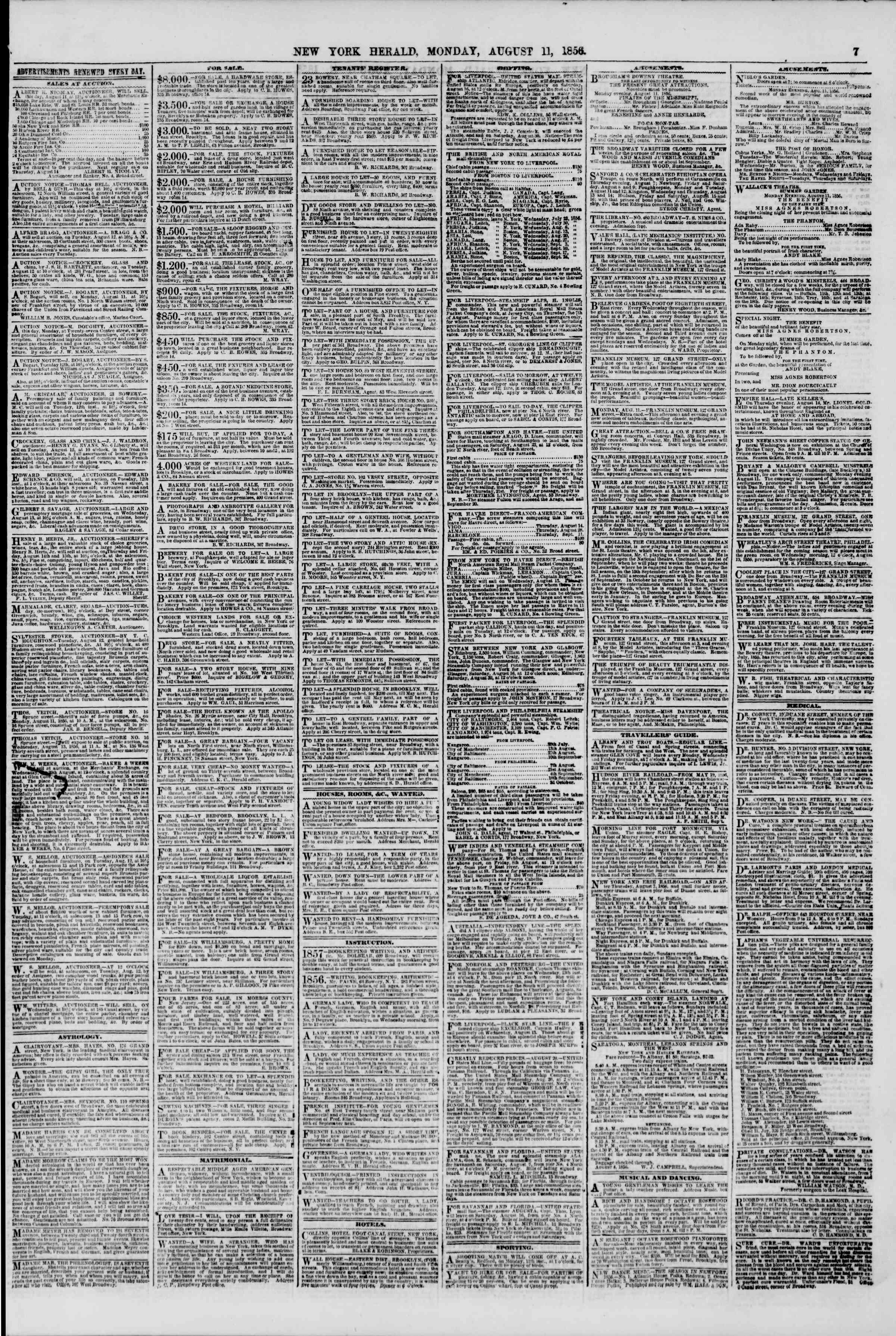 Newspaper of The New York Herald dated August 11, 1856 Page 7