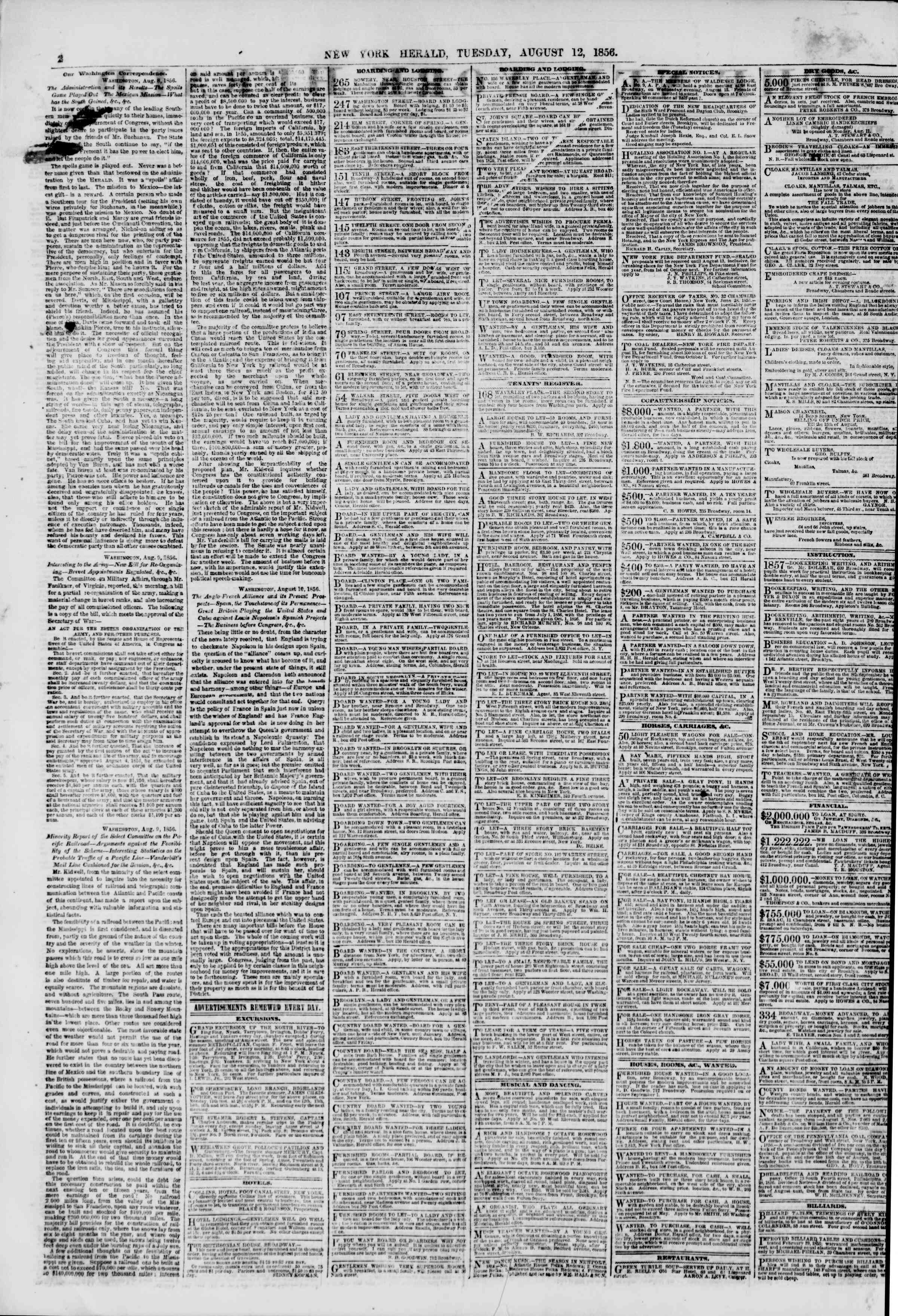 Newspaper of The New York Herald dated August 12, 1856 Page 2