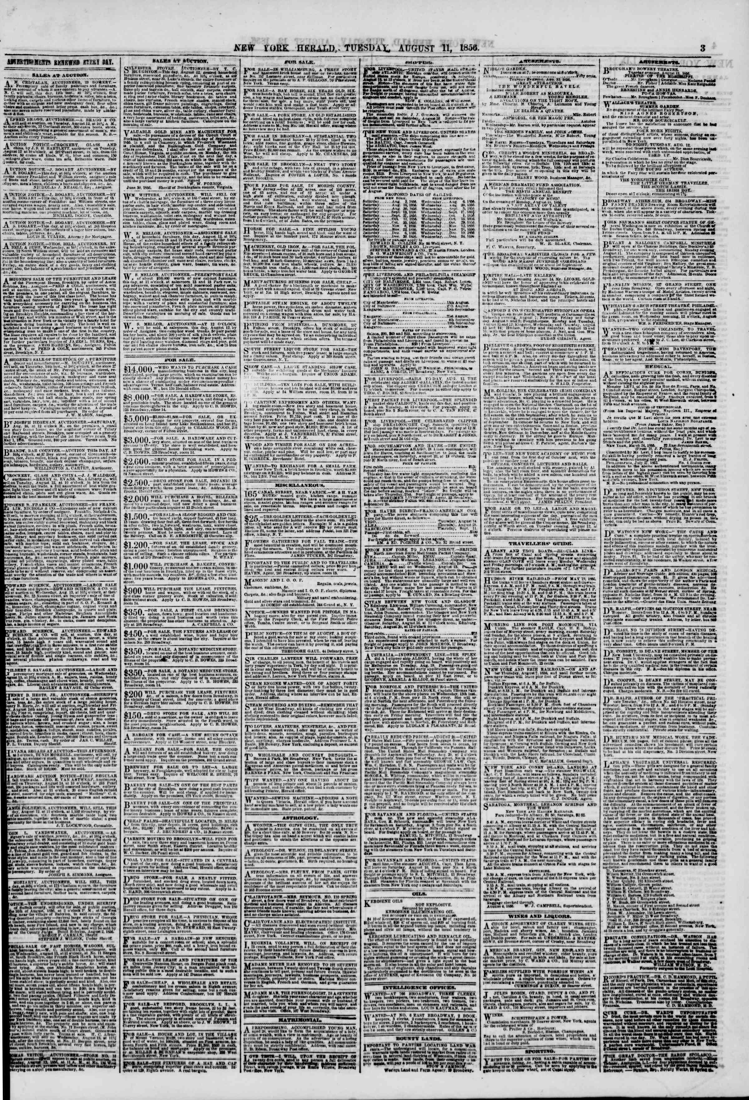 Newspaper of The New York Herald dated August 12, 1856 Page 3