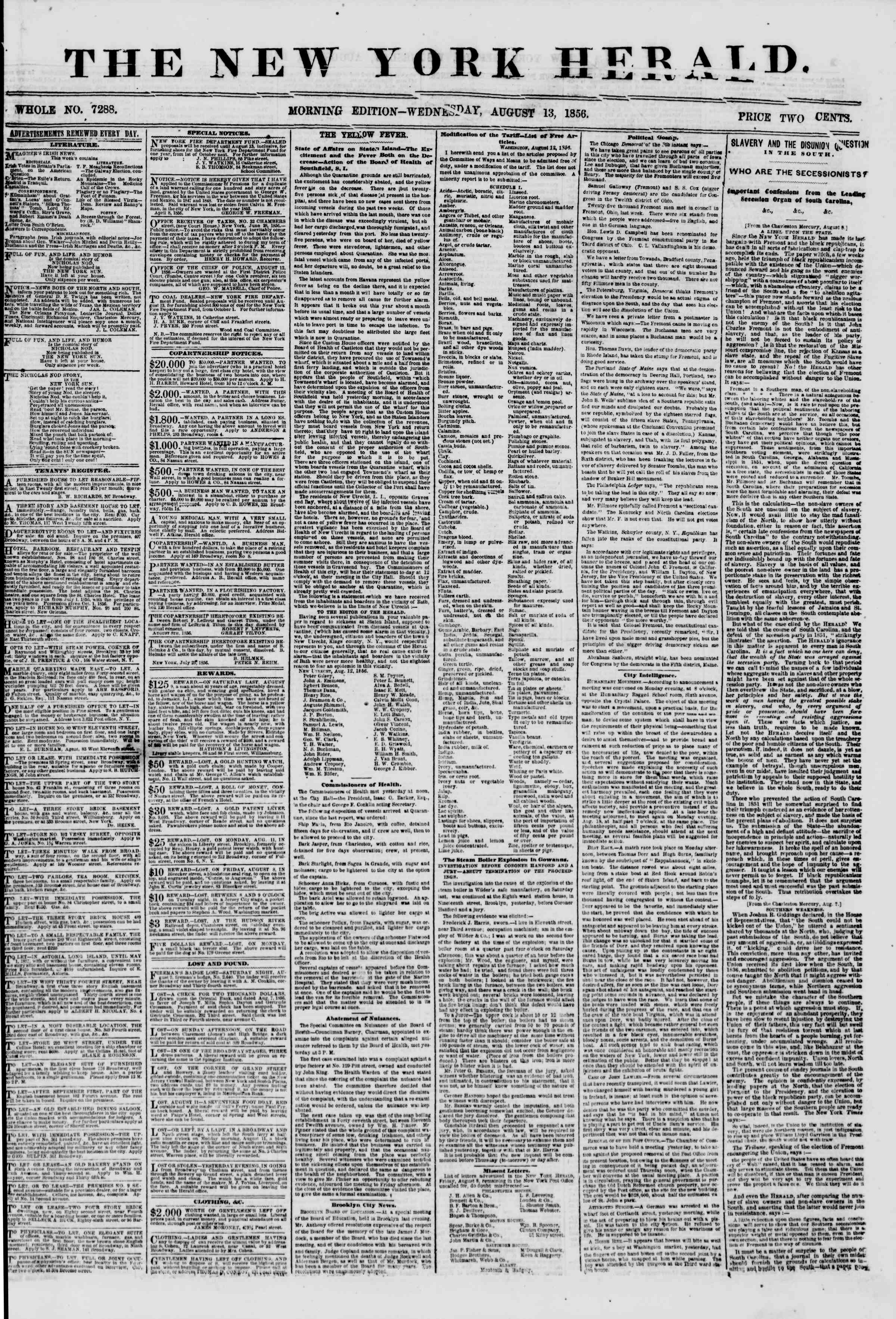 Newspaper of The New York Herald dated August 13, 1856 Page 1