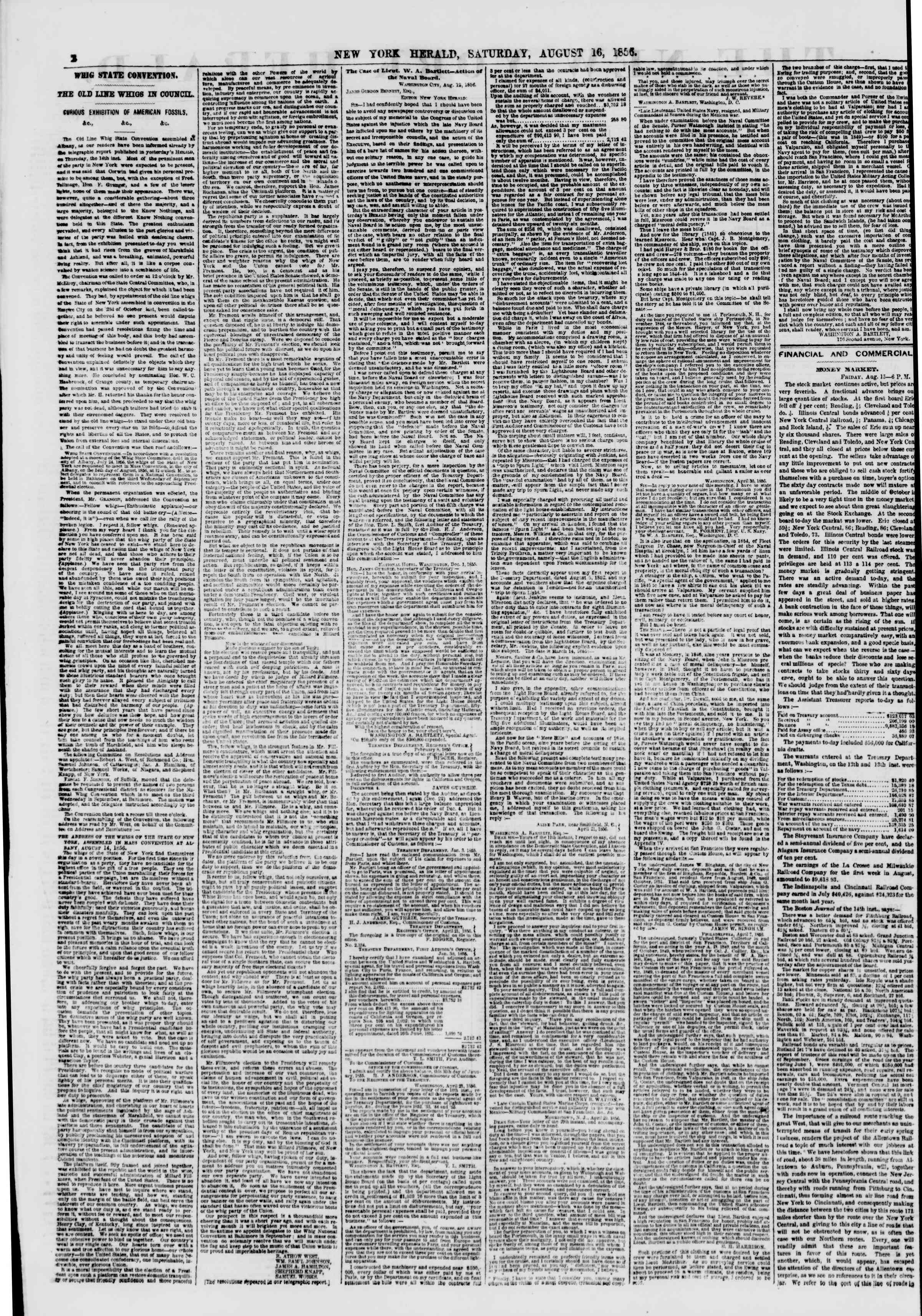 Newspaper of The New York Herald dated August 16, 1856 Page 2