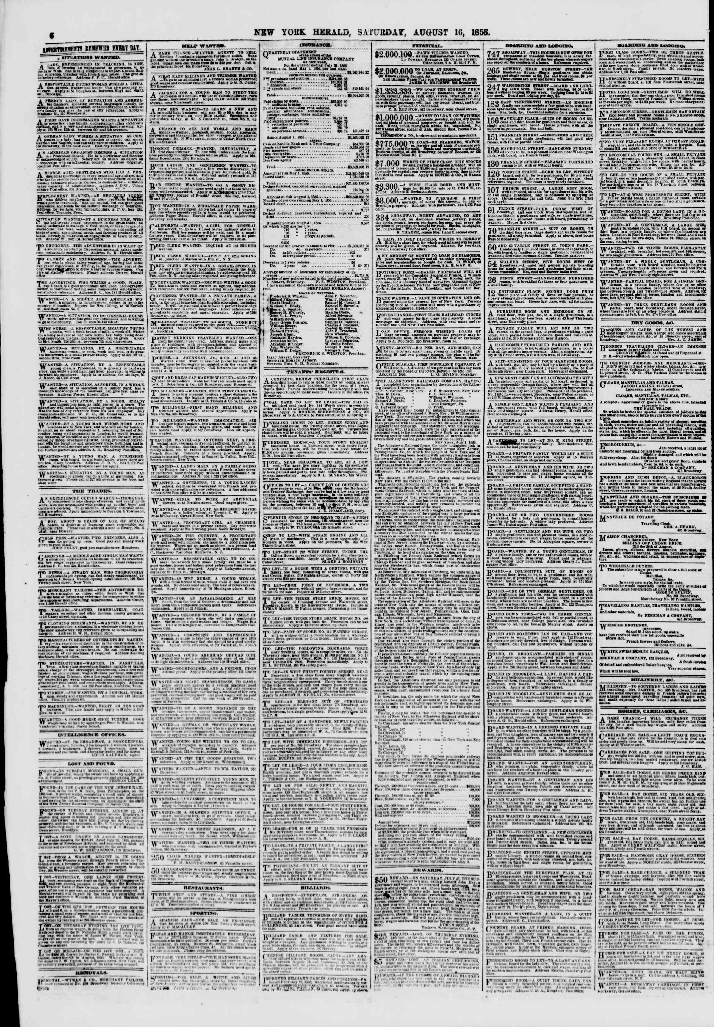 Newspaper of The New York Herald dated August 16, 1856 Page 6