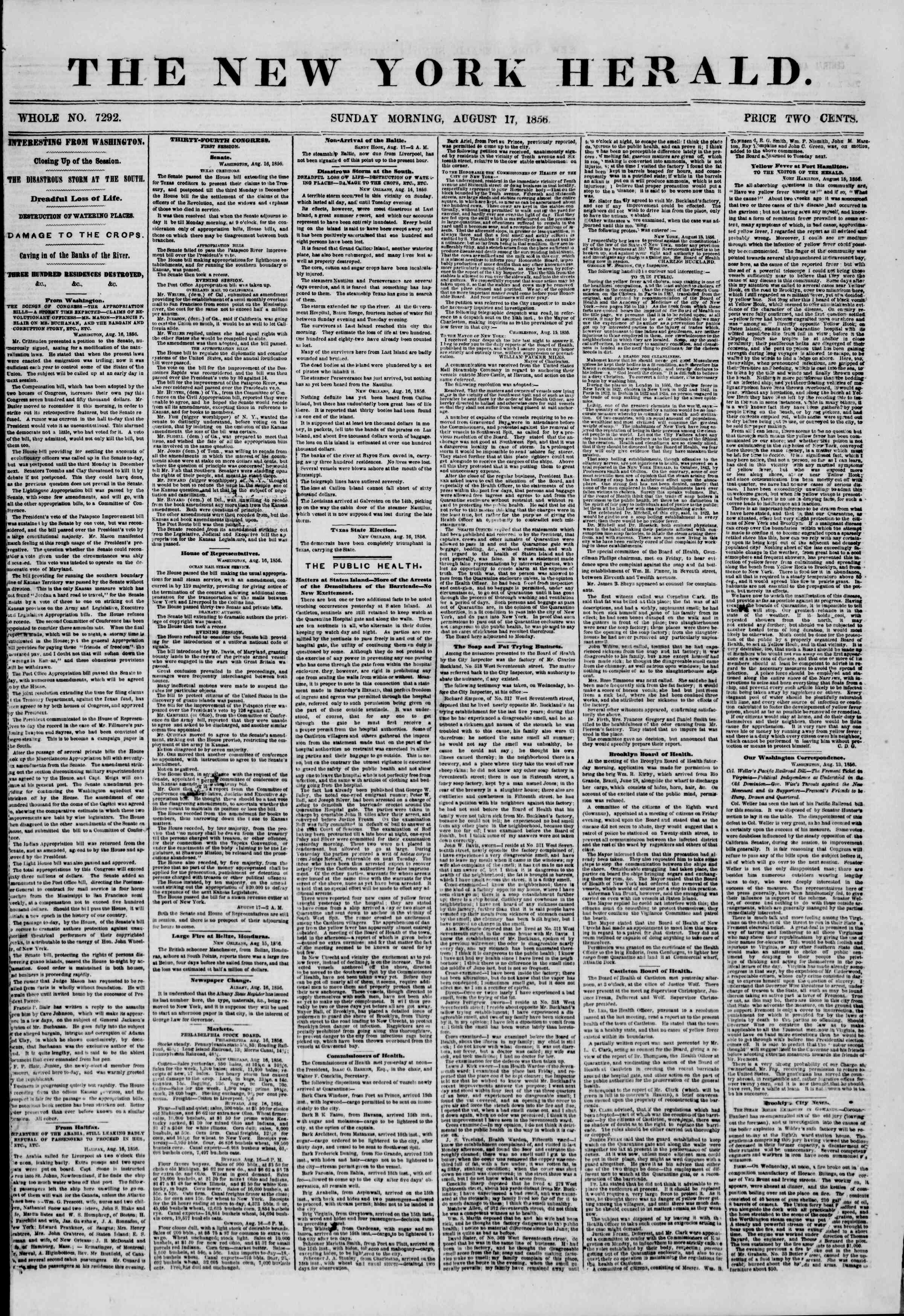 Newspaper of The New York Herald dated August 17, 1856 Page 1