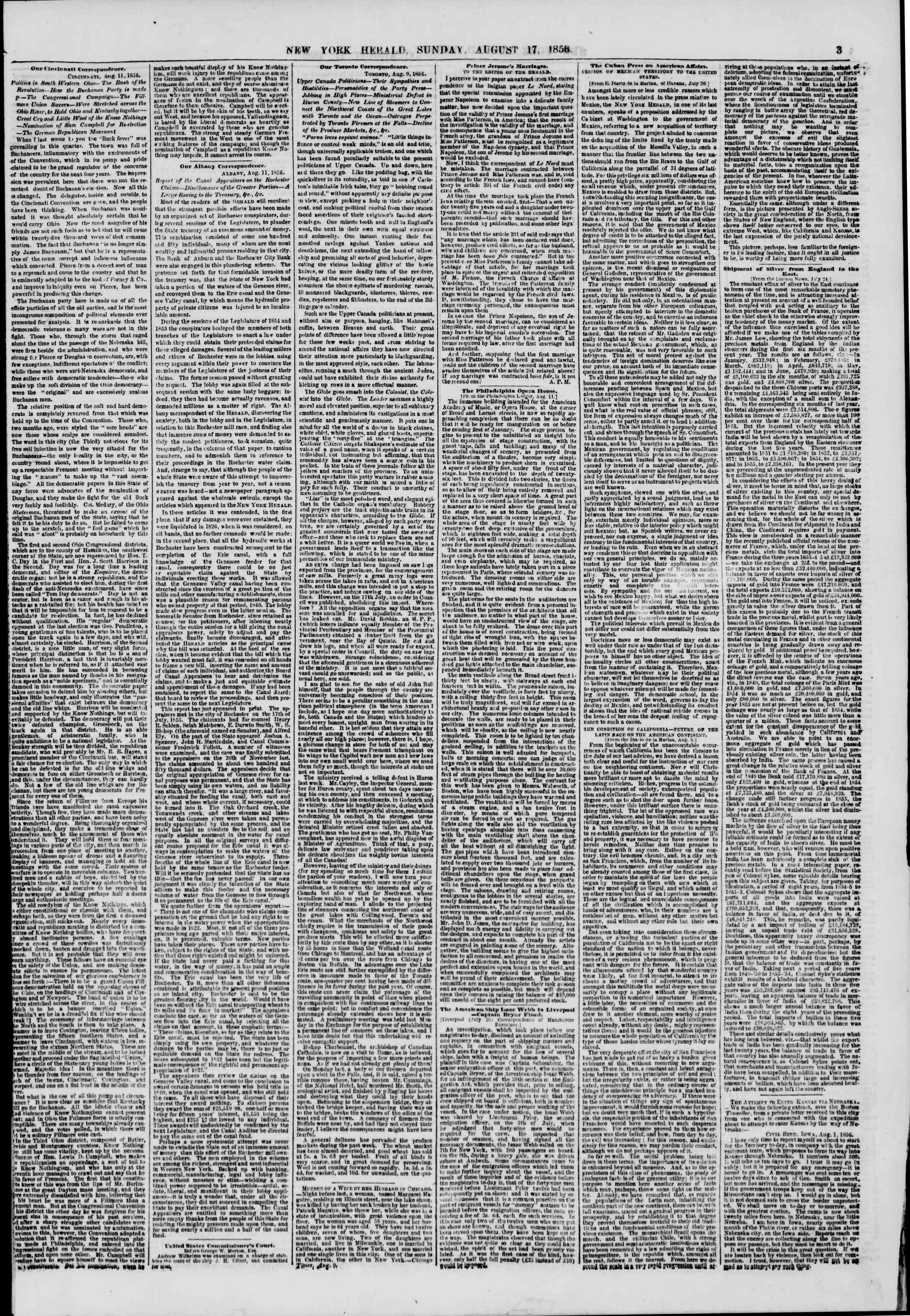 Newspaper of The New York Herald dated August 17, 1856 Page 3