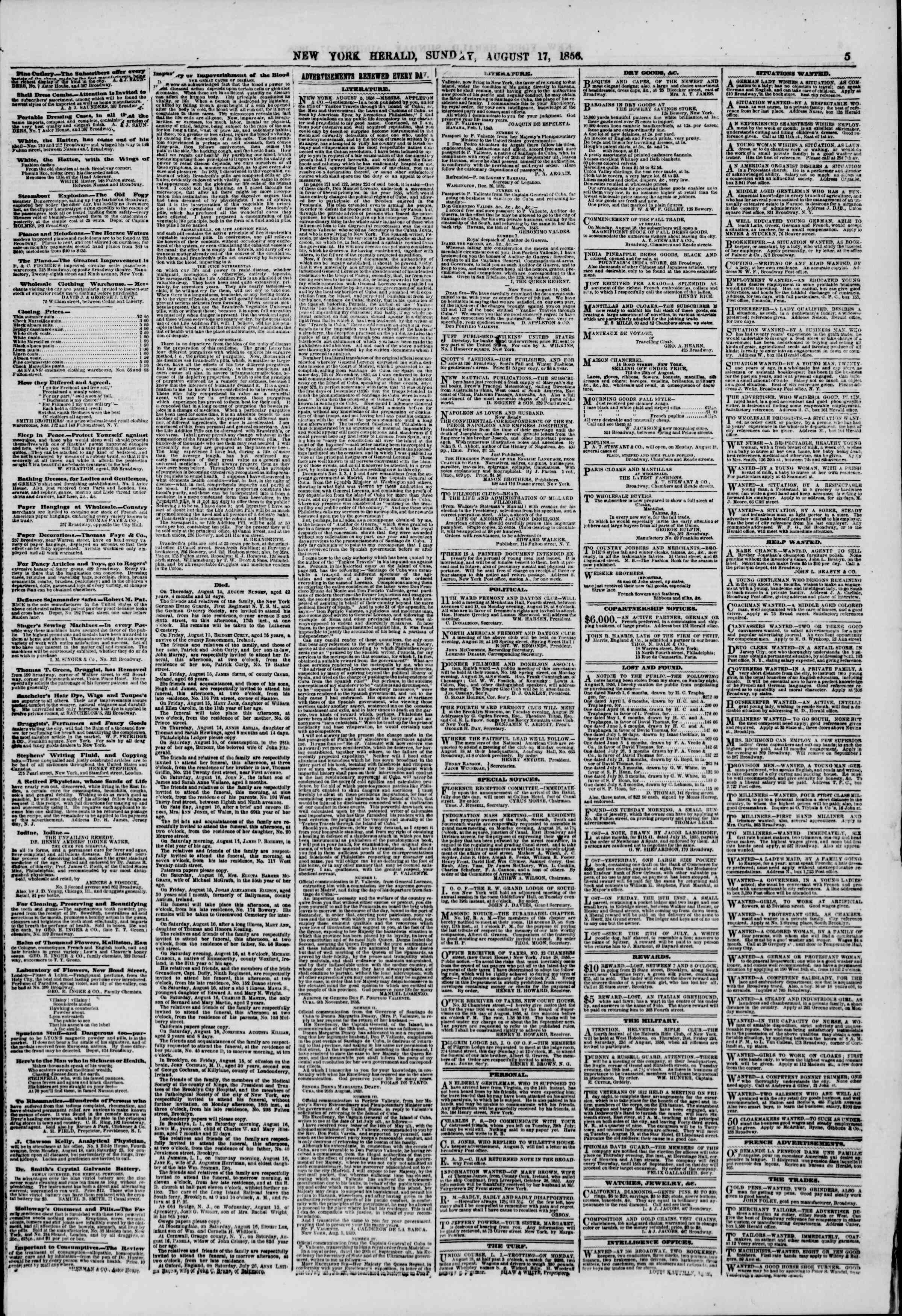 Newspaper of The New York Herald dated August 17, 1856 Page 5