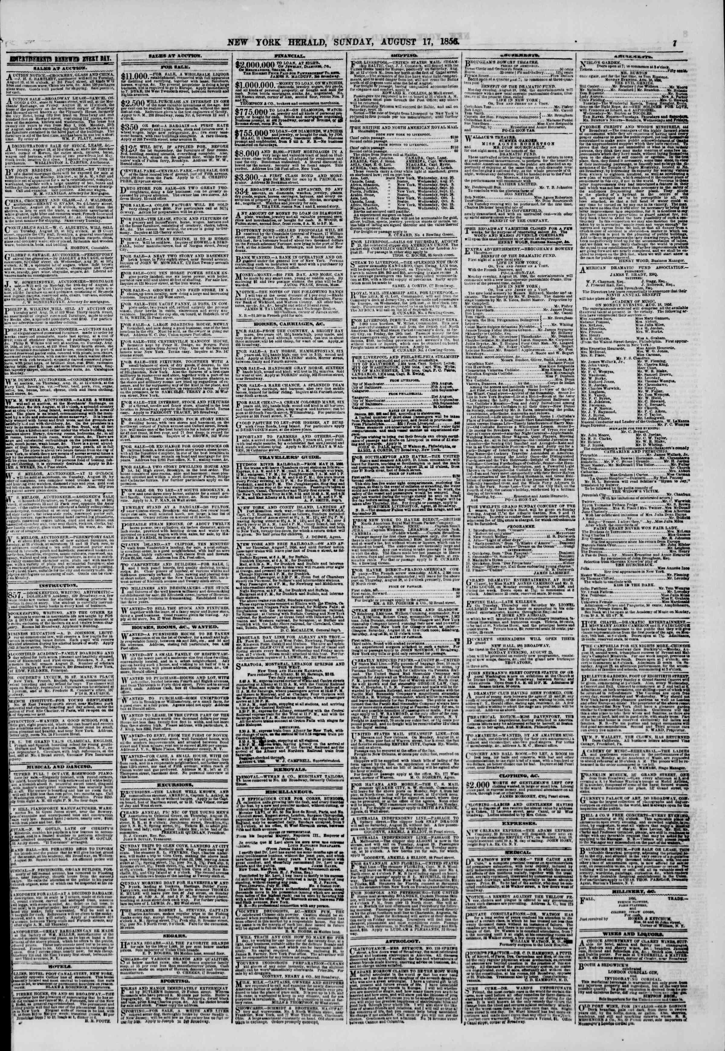 Newspaper of The New York Herald dated August 17, 1856 Page 7