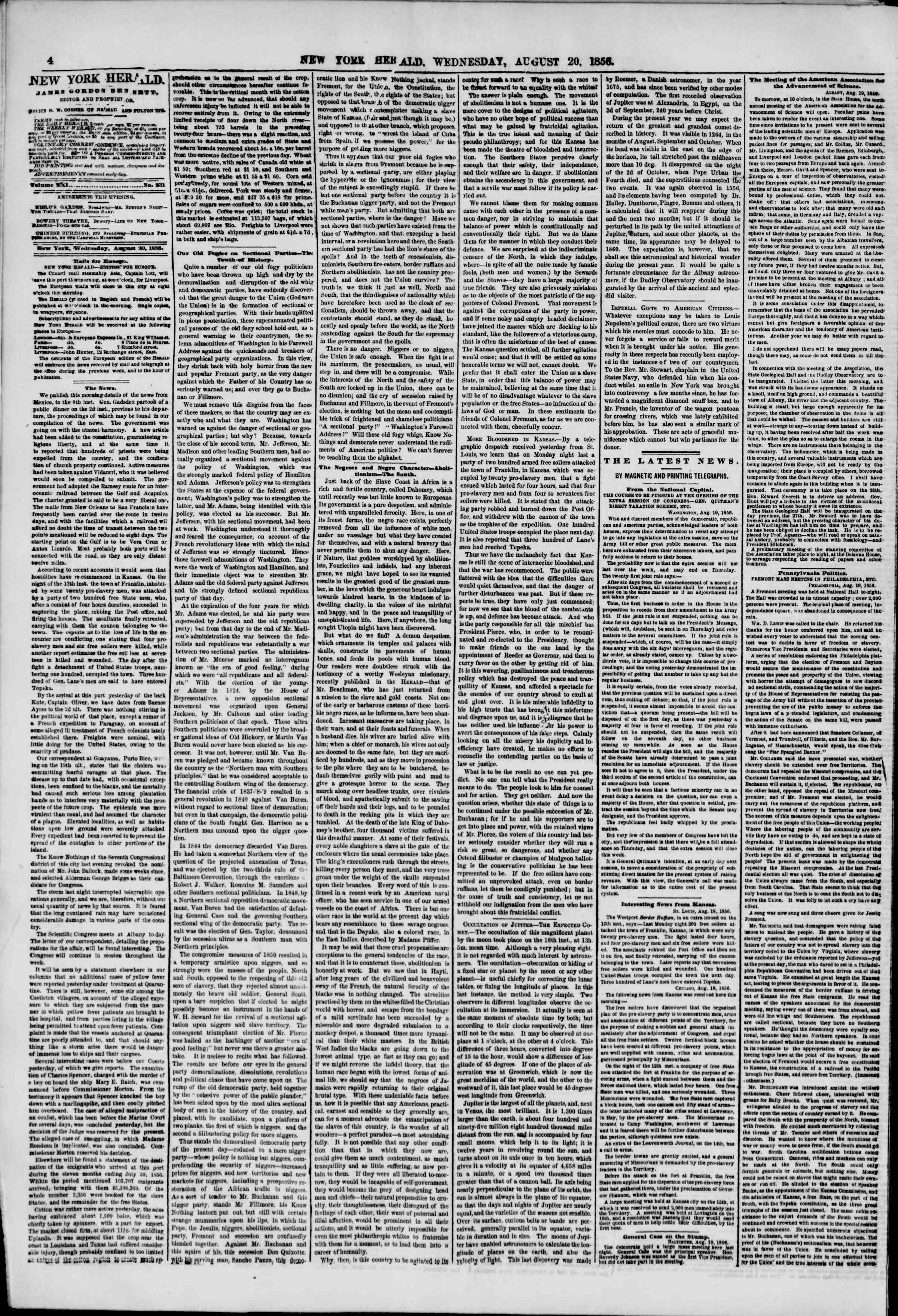 Newspaper of The New York Herald dated August 20, 1856 Page 4