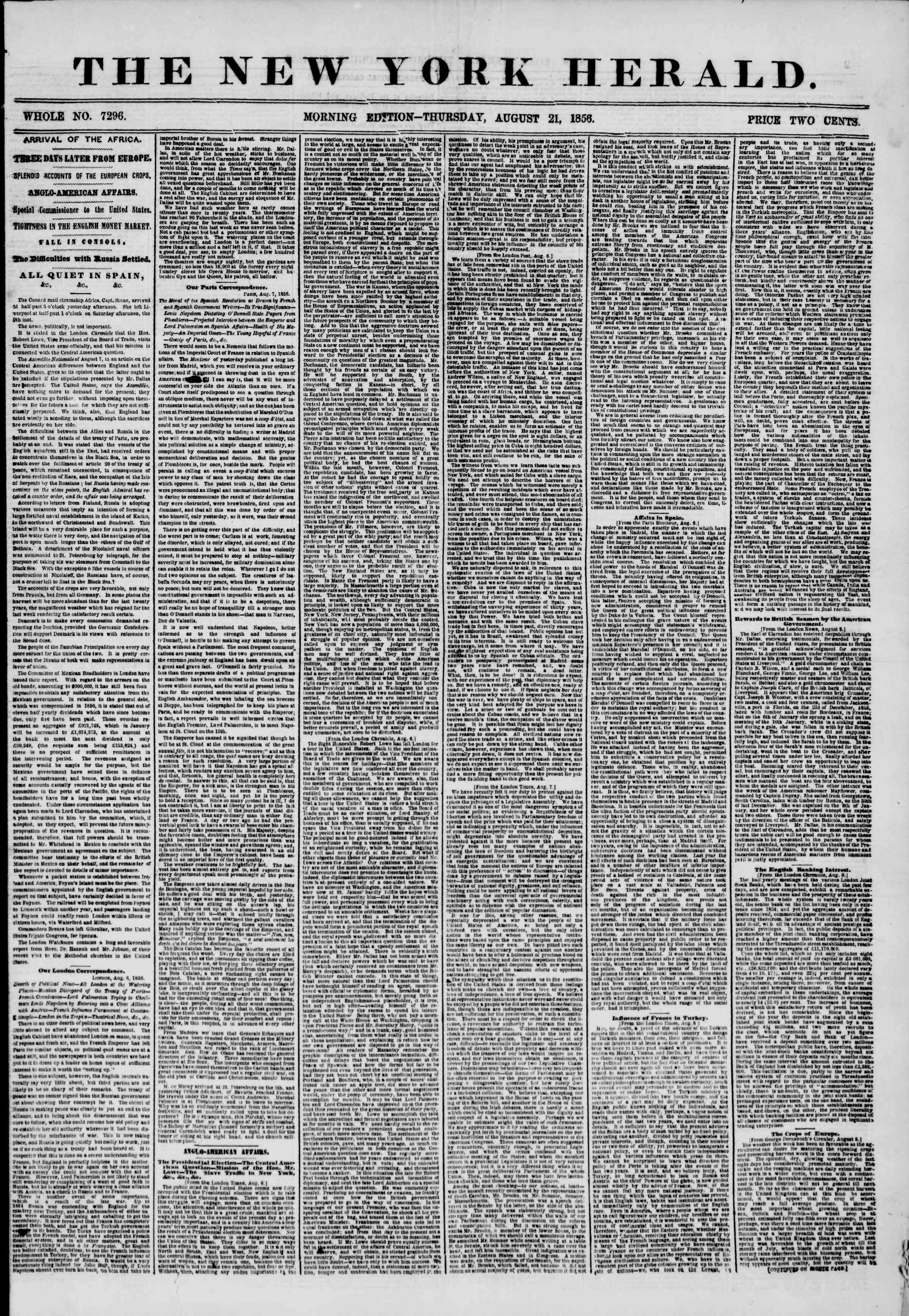 Newspaper of The New York Herald dated August 21, 1856 Page 1