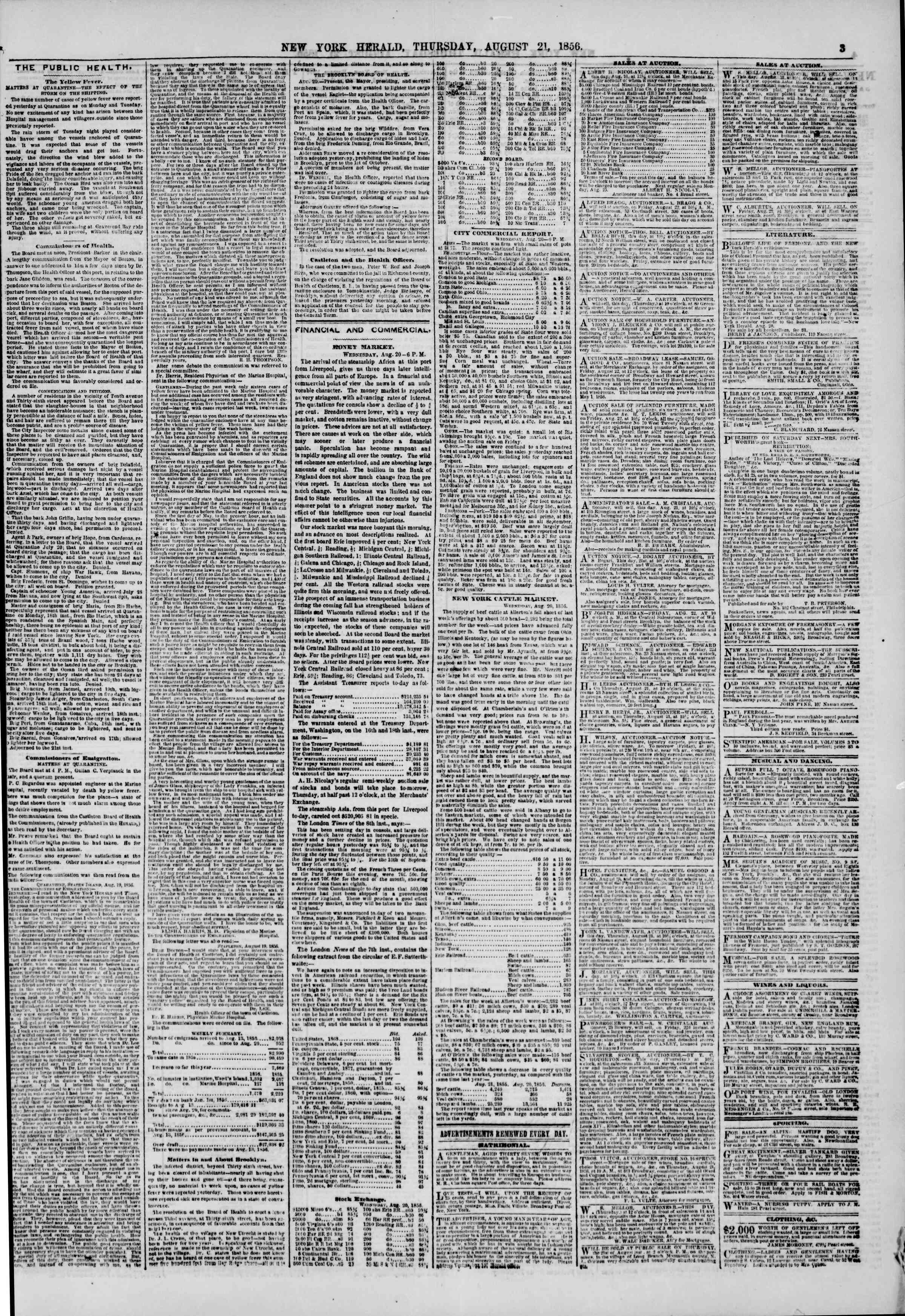 Newspaper of The New York Herald dated August 21, 1856 Page 3