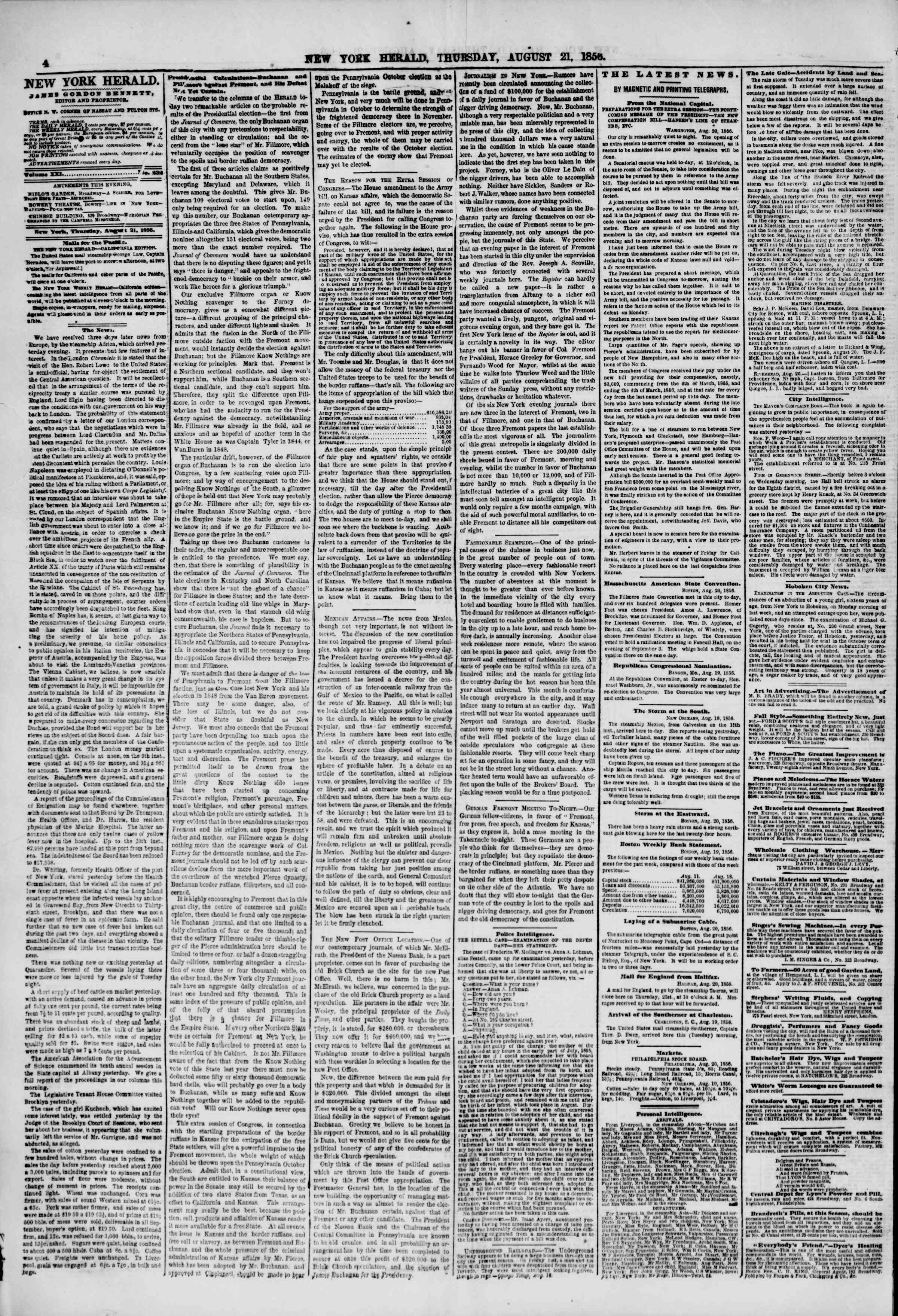 Newspaper of The New York Herald dated August 21, 1856 Page 4