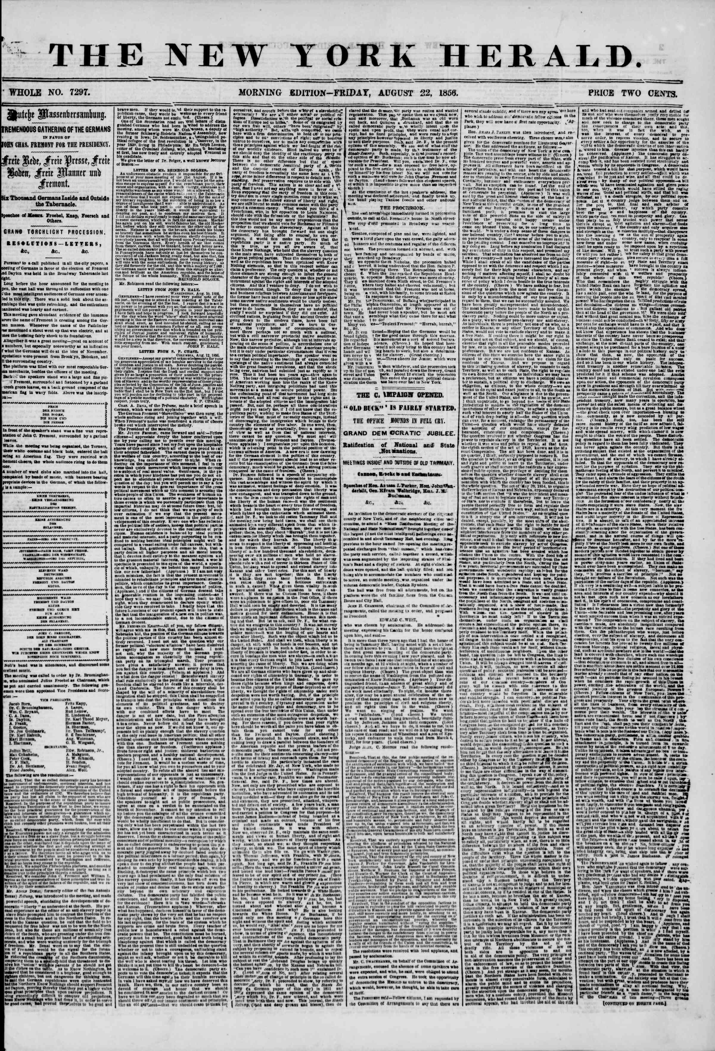 Newspaper of The New York Herald dated August 22, 1856 Page 1